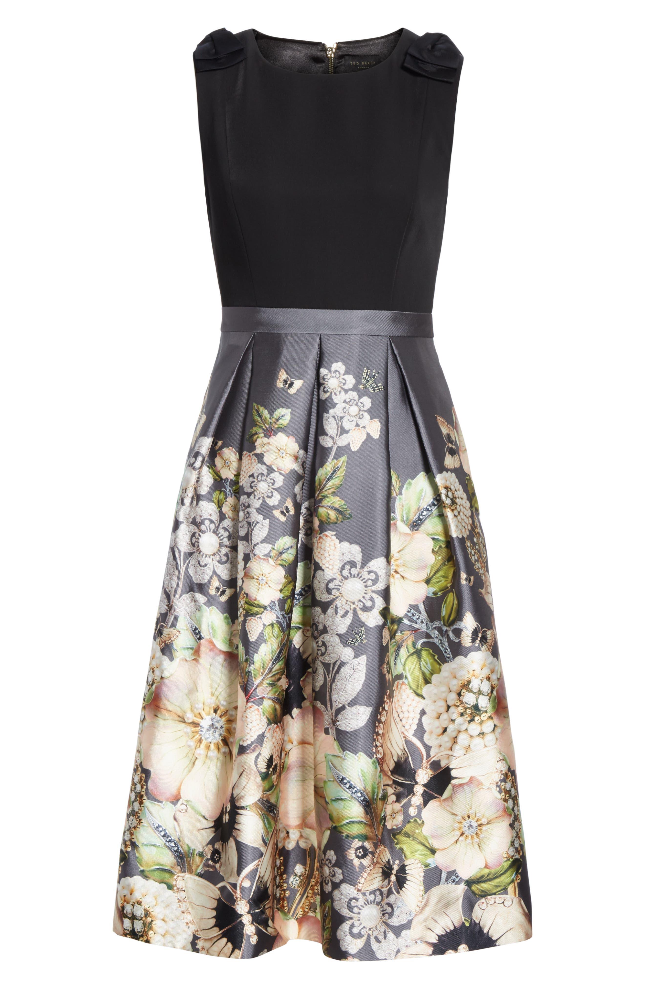 Molyka Gem Gardens Bow Dress,                             Alternate thumbnail 7, color,                             CHARCOAL
