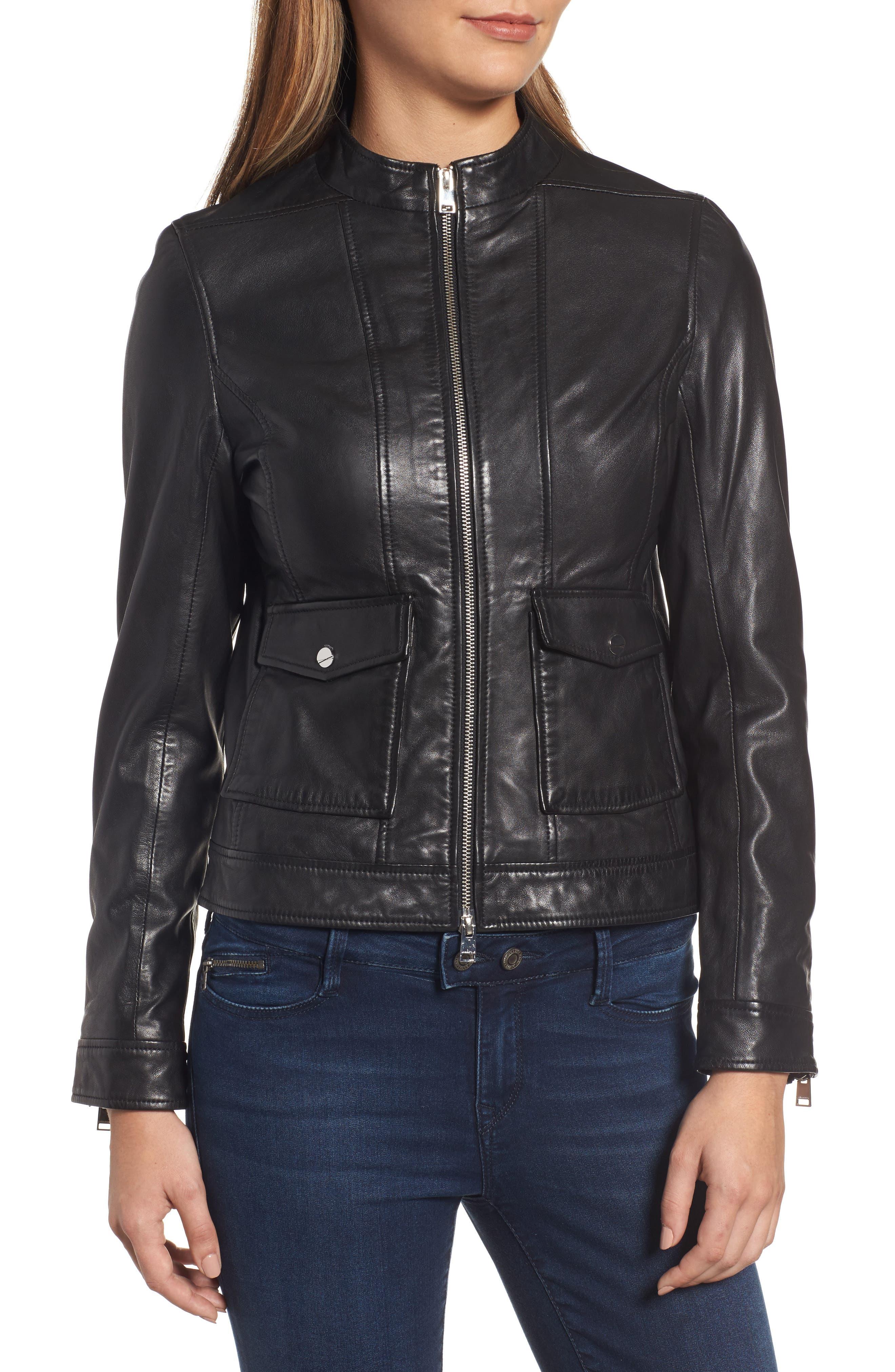 Patch Pocket Leather Biker Jacket,                             Alternate thumbnail 4, color,                             BLACK