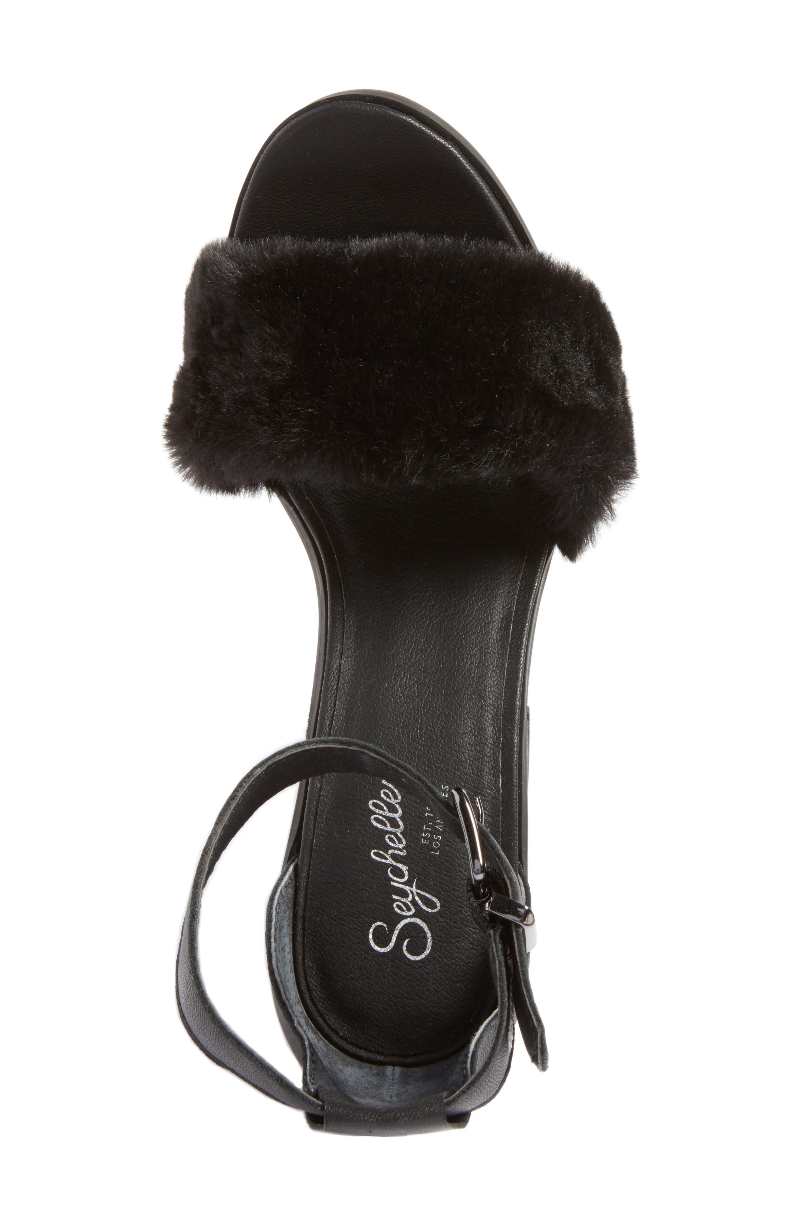Faux Fur Ankle Strap Sandal,                             Alternate thumbnail 9, color,
