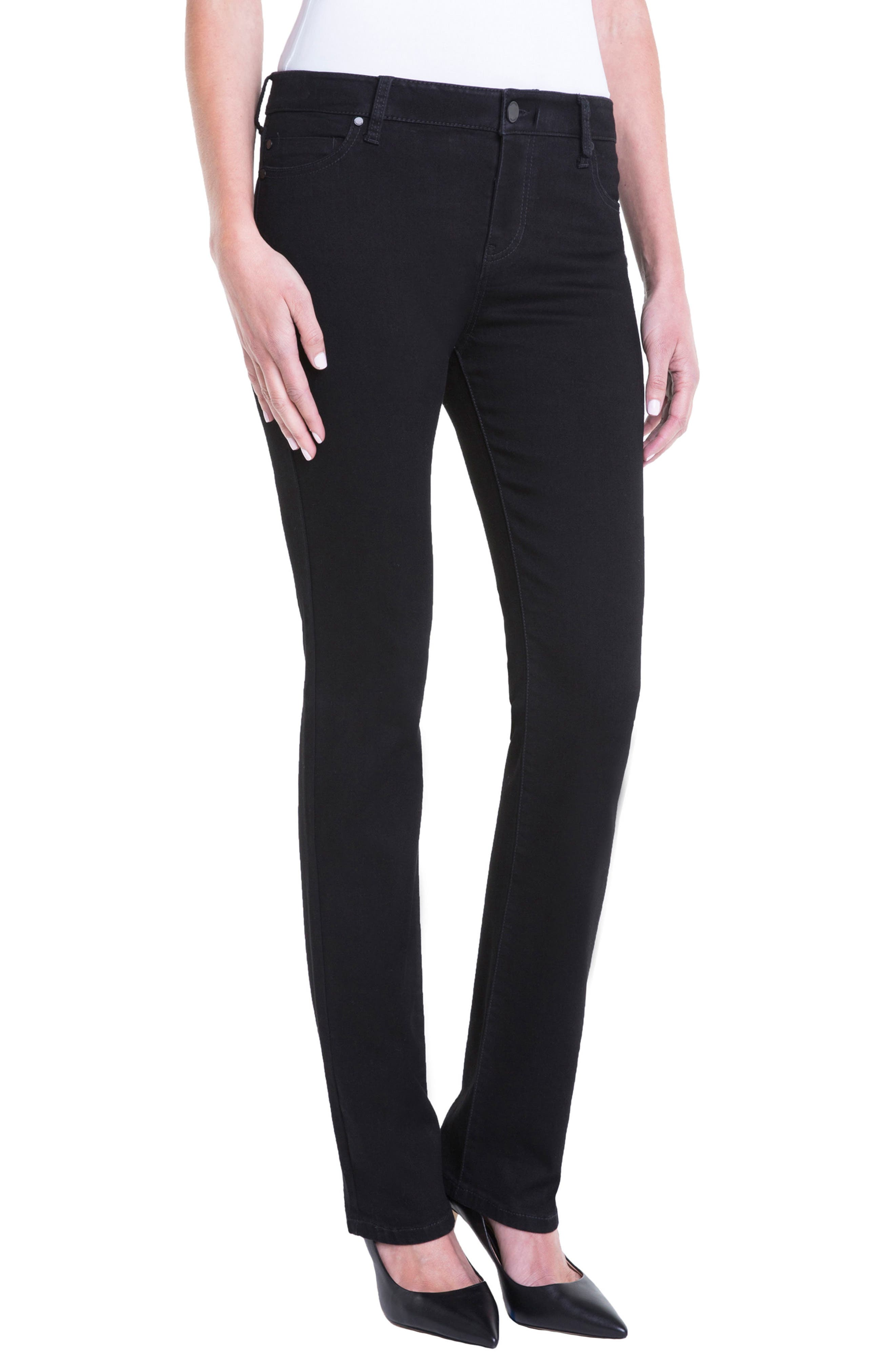 Sadie Mid Rise Stretch Straight Jeans,                             Alternate thumbnail 3, color,                             BLACK RINSE