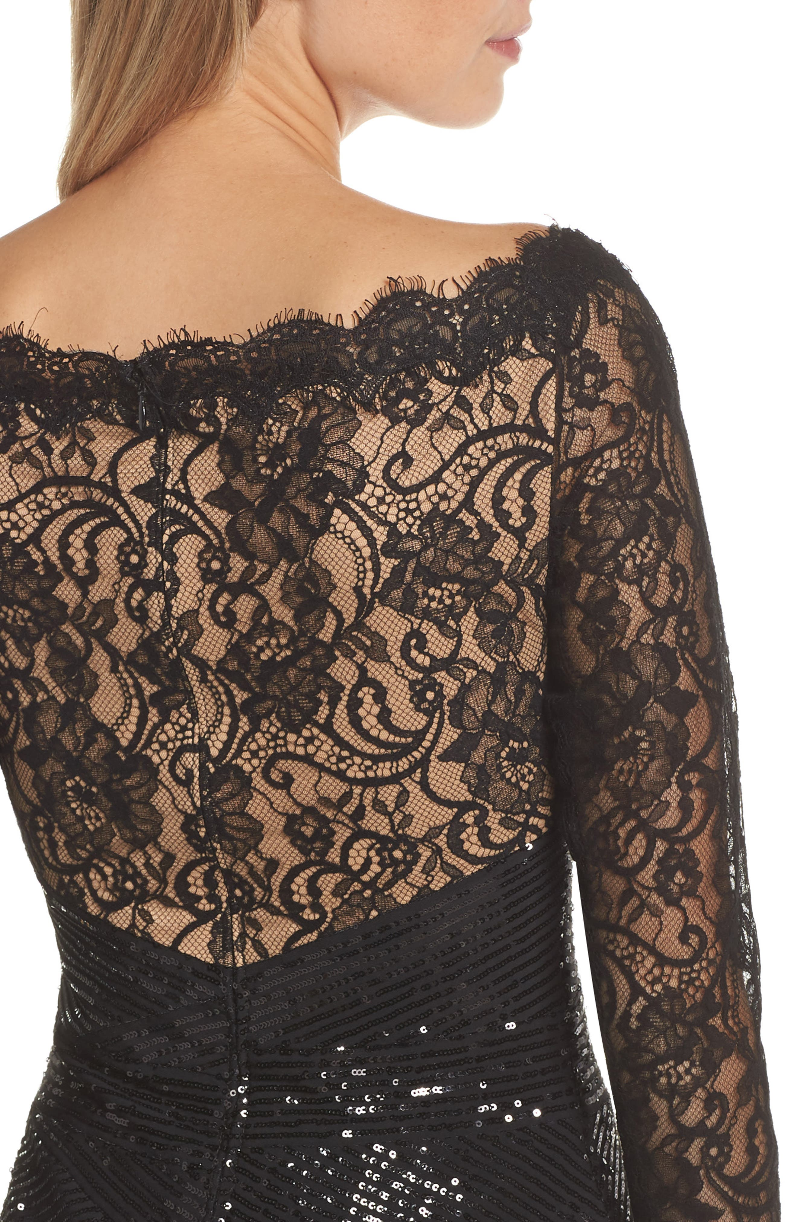 Lace & Sequin Gown,                             Alternate thumbnail 4, color,                             BLACK/ NUDE
