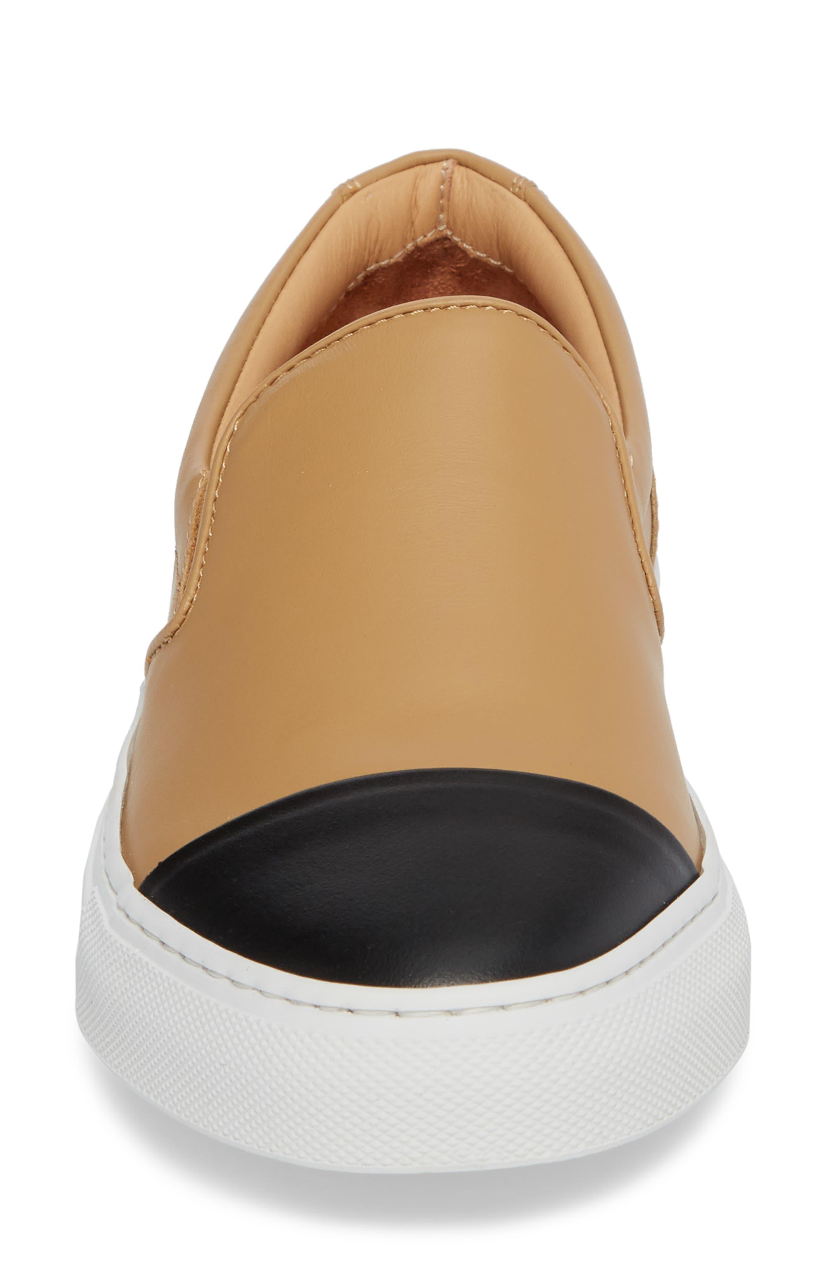 Wooster Cap Toe Slip-On Sneaker,                             Alternate thumbnail 4, color,                             ALMOND