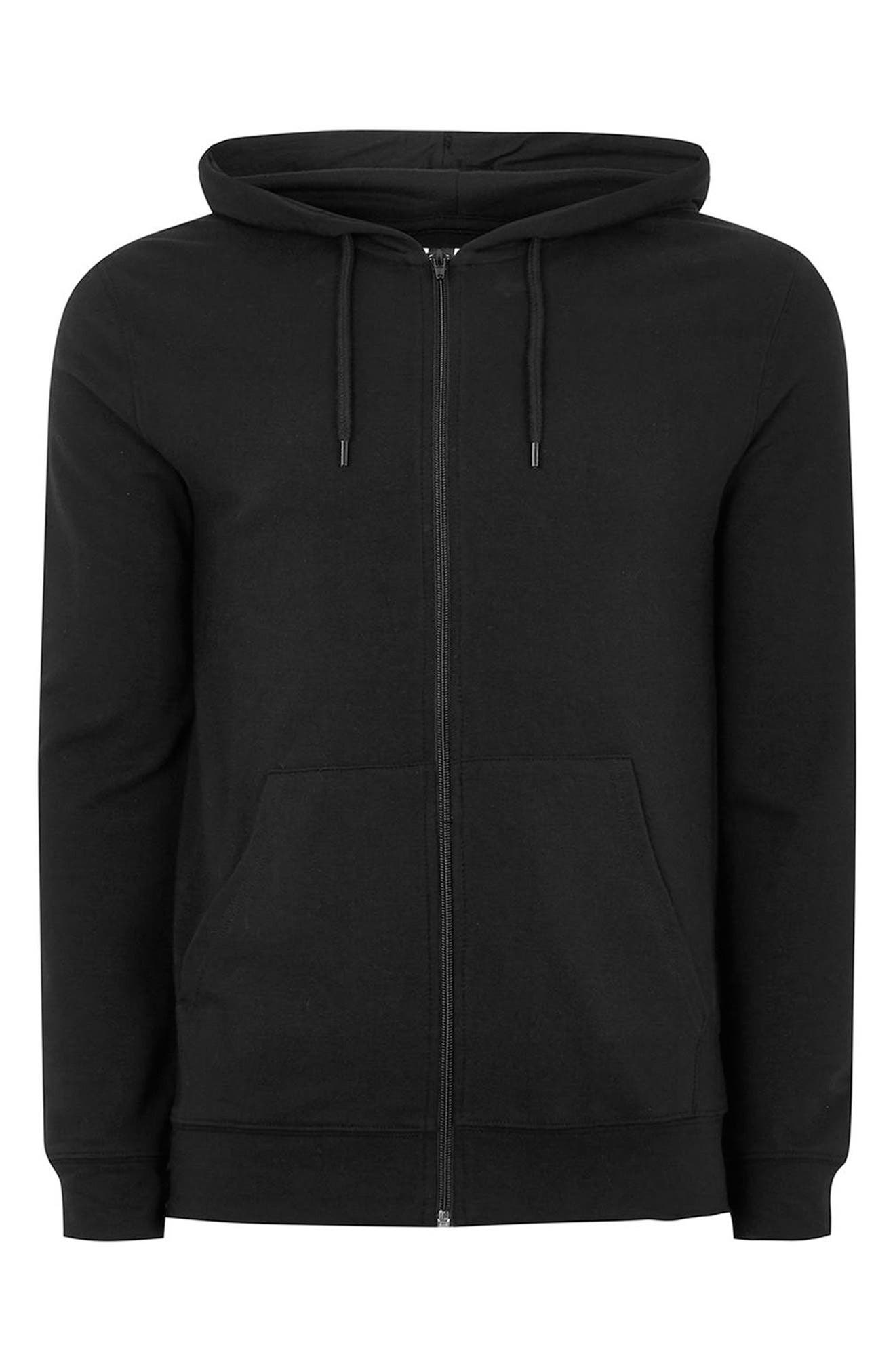 Muscle Fit Zip Through Hoodie,                             Alternate thumbnail 4, color,                             001