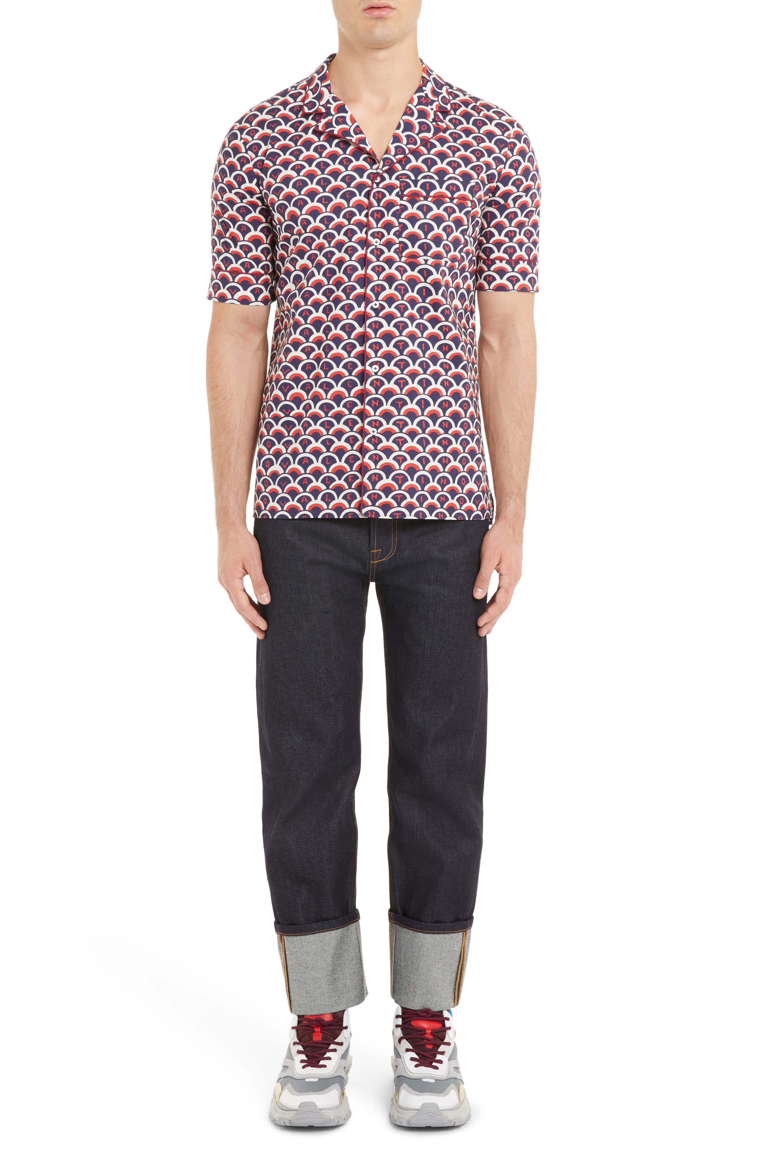 Scales Print Sport Shirt,                             Alternate thumbnail 6, color,                             VALENTINO SCALE BLUE