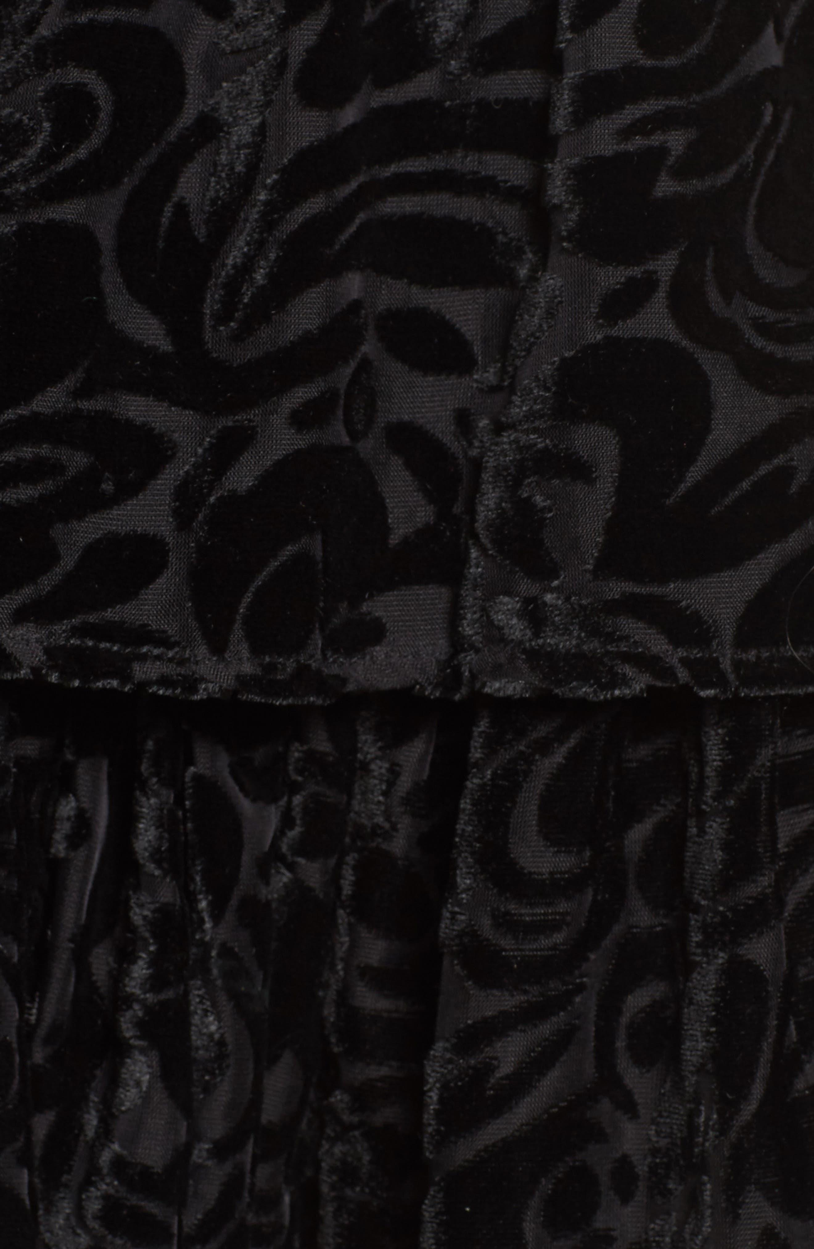 Ember Velvet Burnout Smocked Dress,                             Alternate thumbnail 5, color,                             001