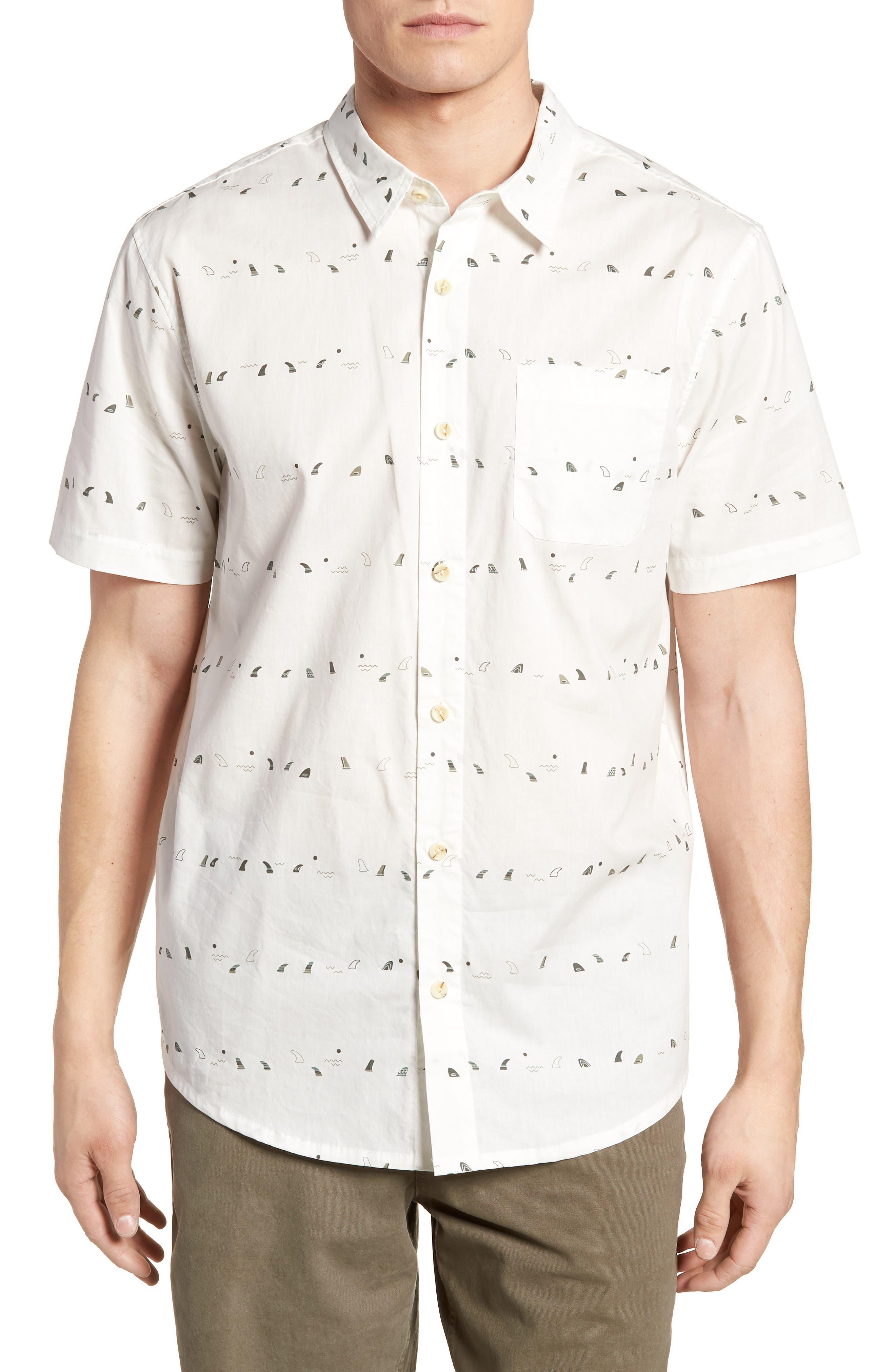 Single Fin Regular Fit Short Sleeve Sport Shirt,                         Main,                         color, 100