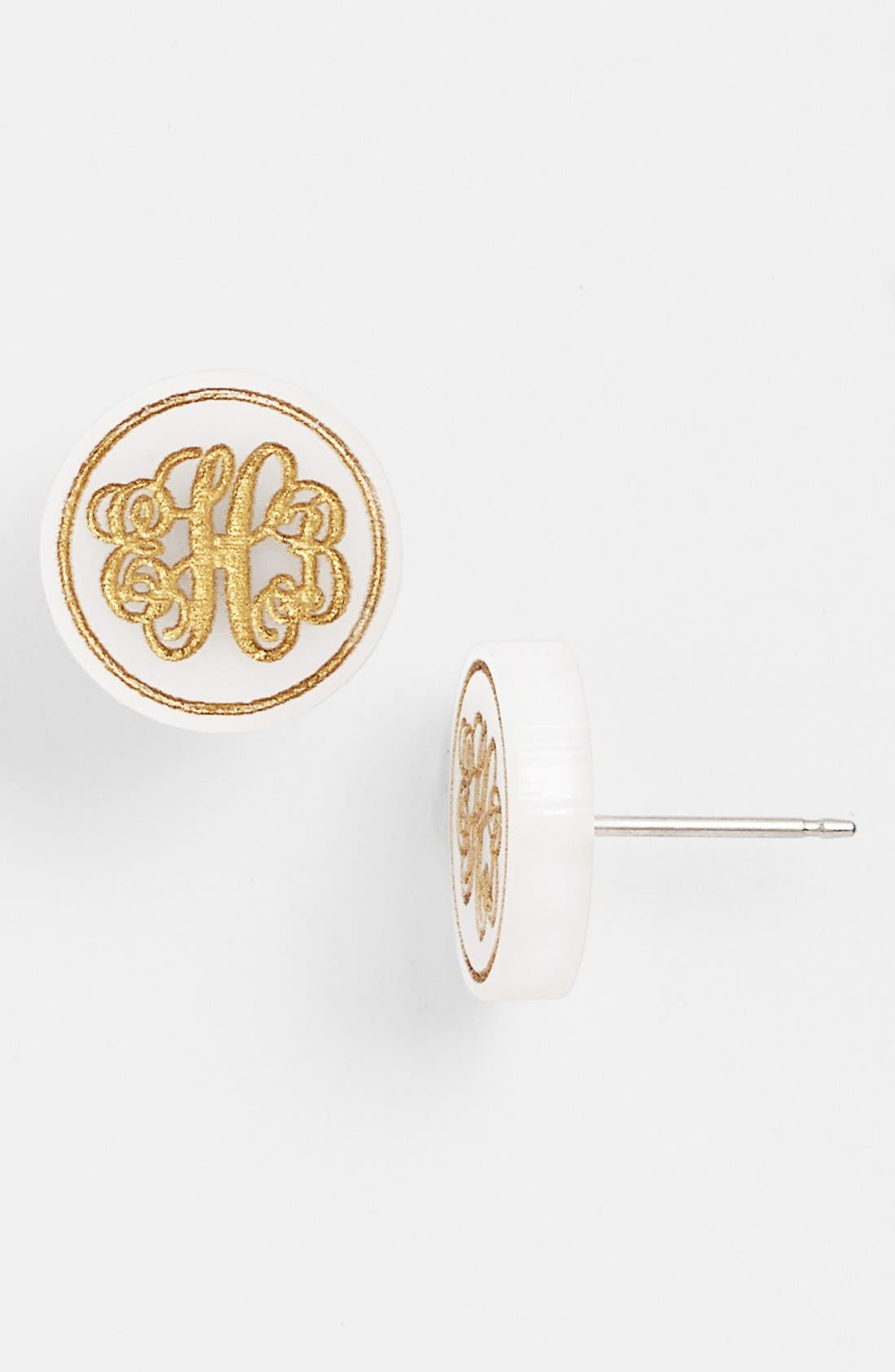 MOON AND LOLA,                             'Chelsea' Small Personalized Monogram Stud Earrings,                             Main thumbnail 1, color,                             SNOW/ GOLD
