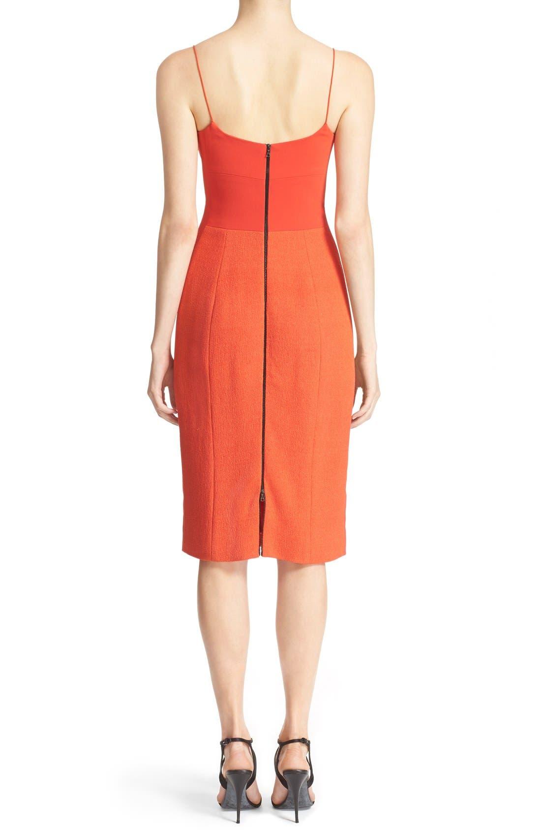 Texture Wool & Crêpe Bustier Dress,                             Alternate thumbnail 5, color,                             600