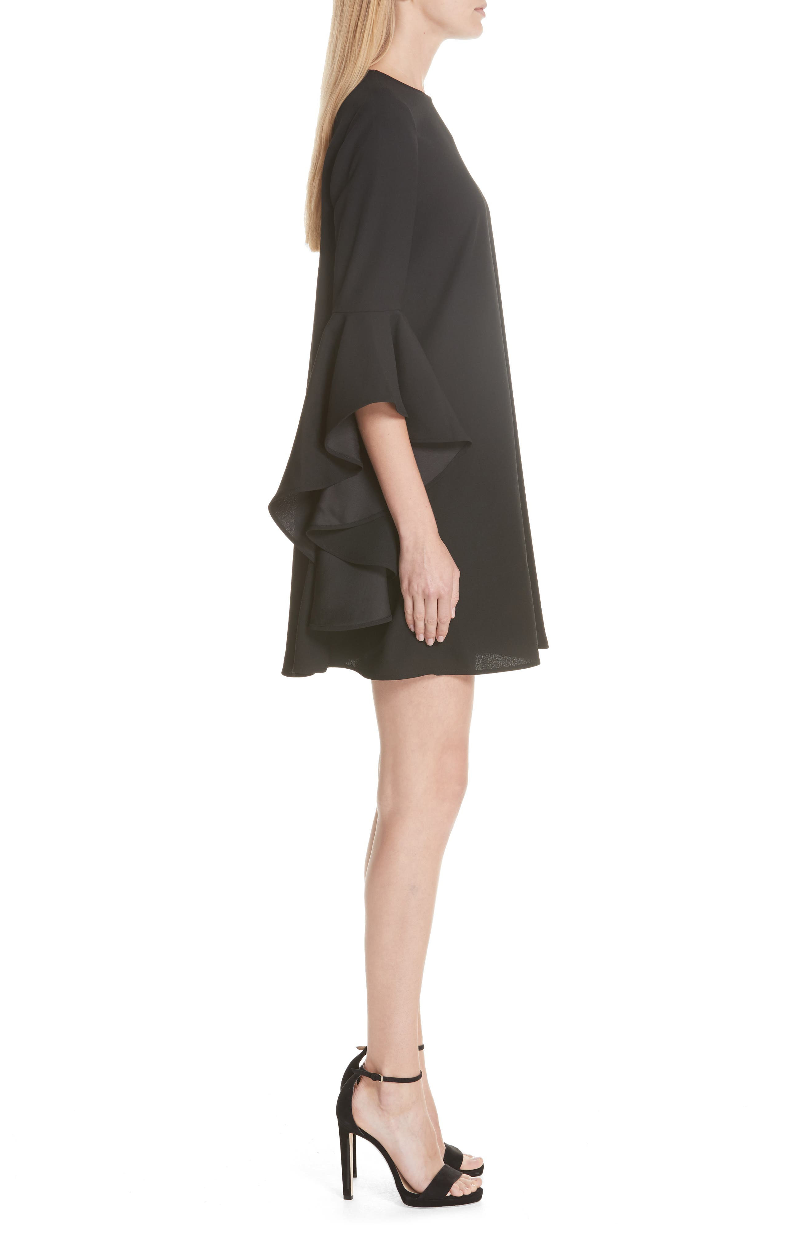 TED BAKER LONDON,                             Ashley Waterfall Sleeve A-Line Dress,                             Alternate thumbnail 3, color,                             001