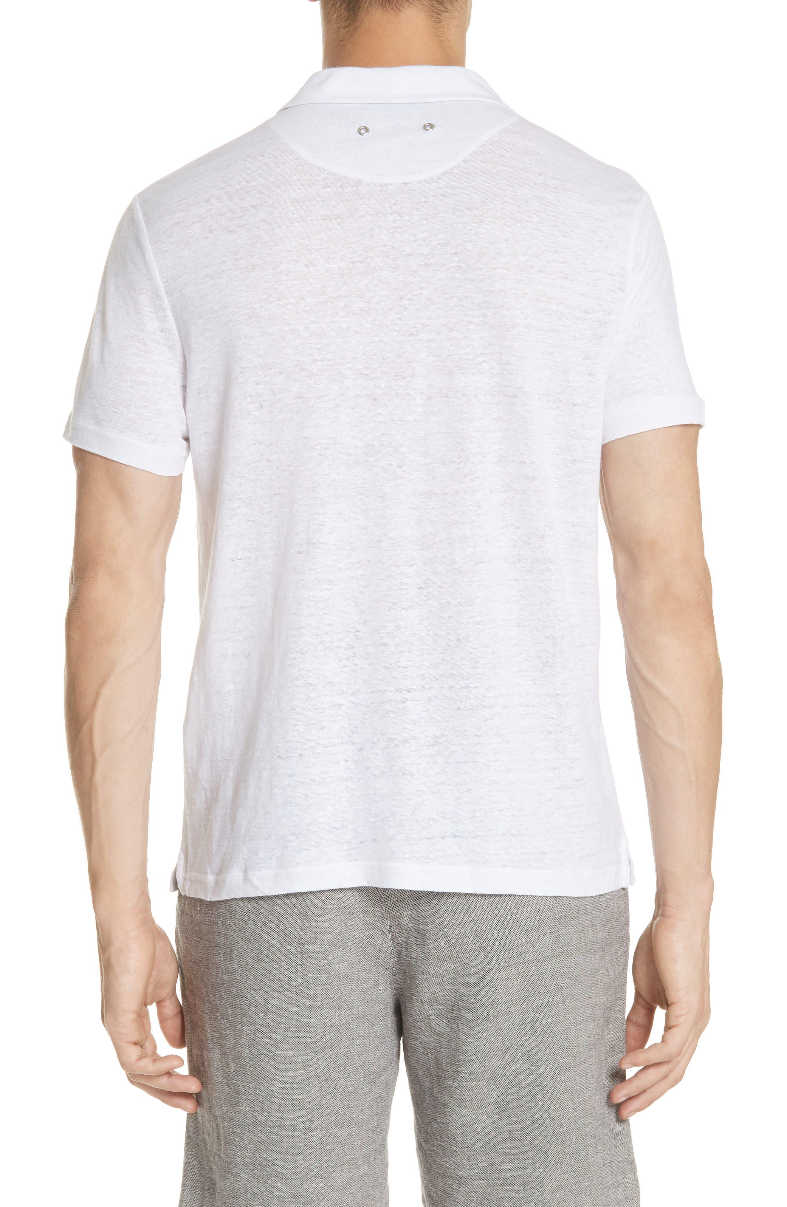 Linen Slub Jersey Linen Polo,                             Alternate thumbnail 2, color,                             WHITE