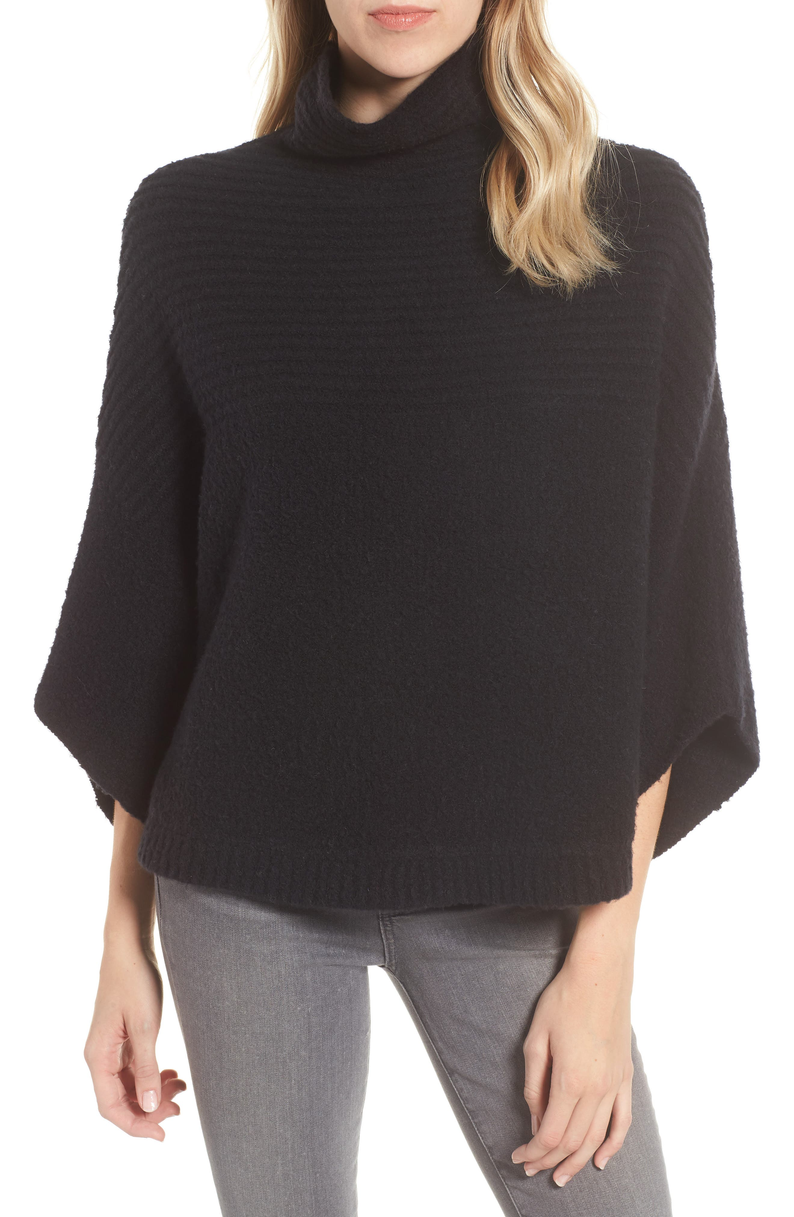 Rib Knit Turtleneck Poncho,                         Main,                         color, BLACK