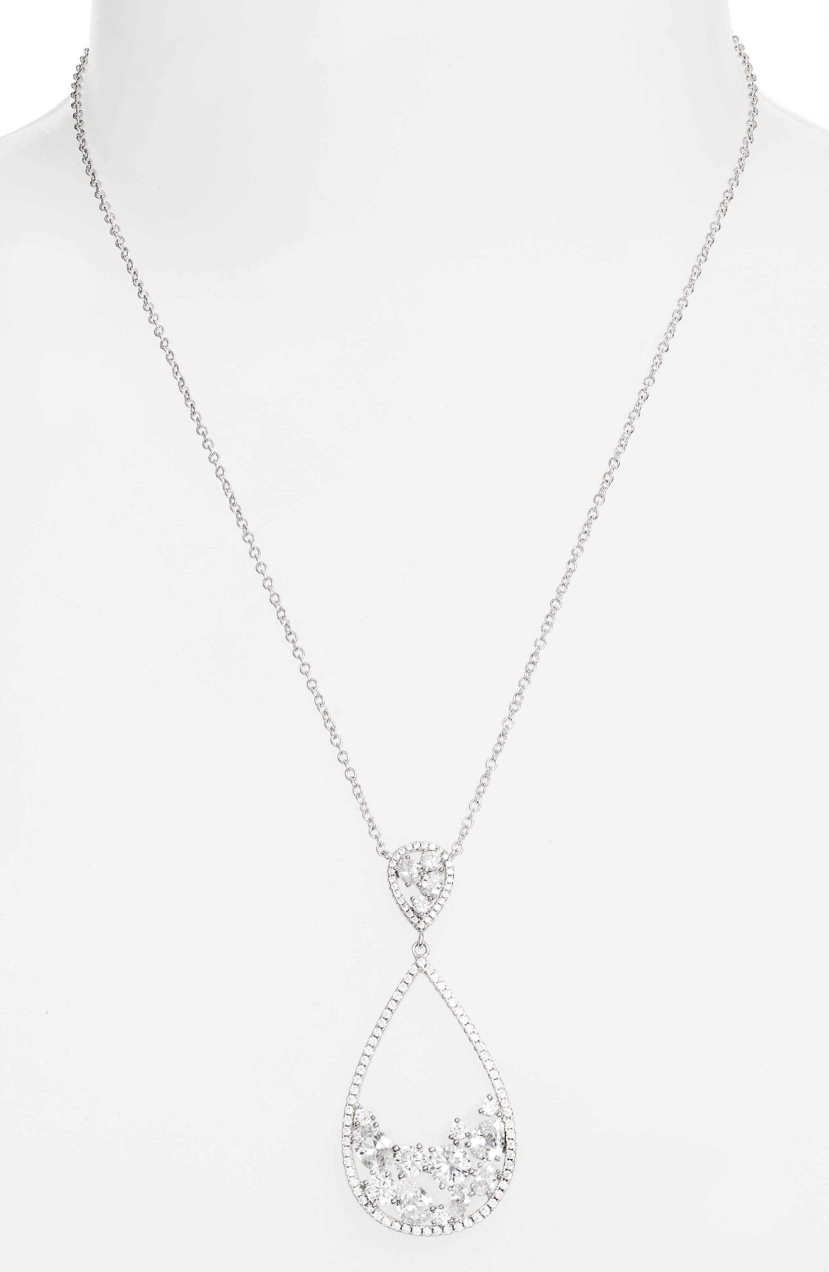 Stone Cluster Open Teardrop Pendant Necklace,                             Alternate thumbnail 2, color,                             SILVER/ WHITE CZ