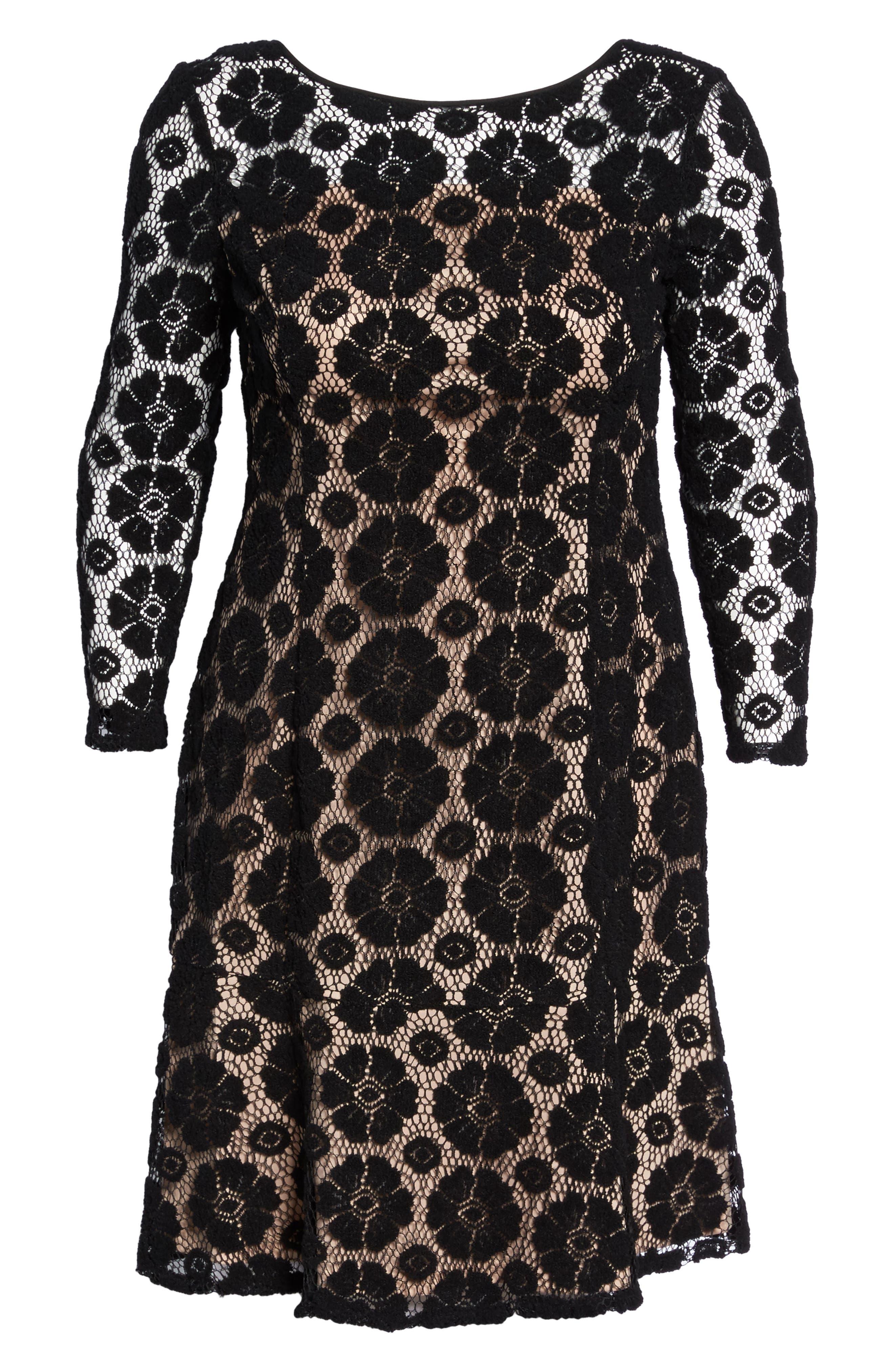 Textured Floral Lace Shift Dress,                             Alternate thumbnail 6, color,