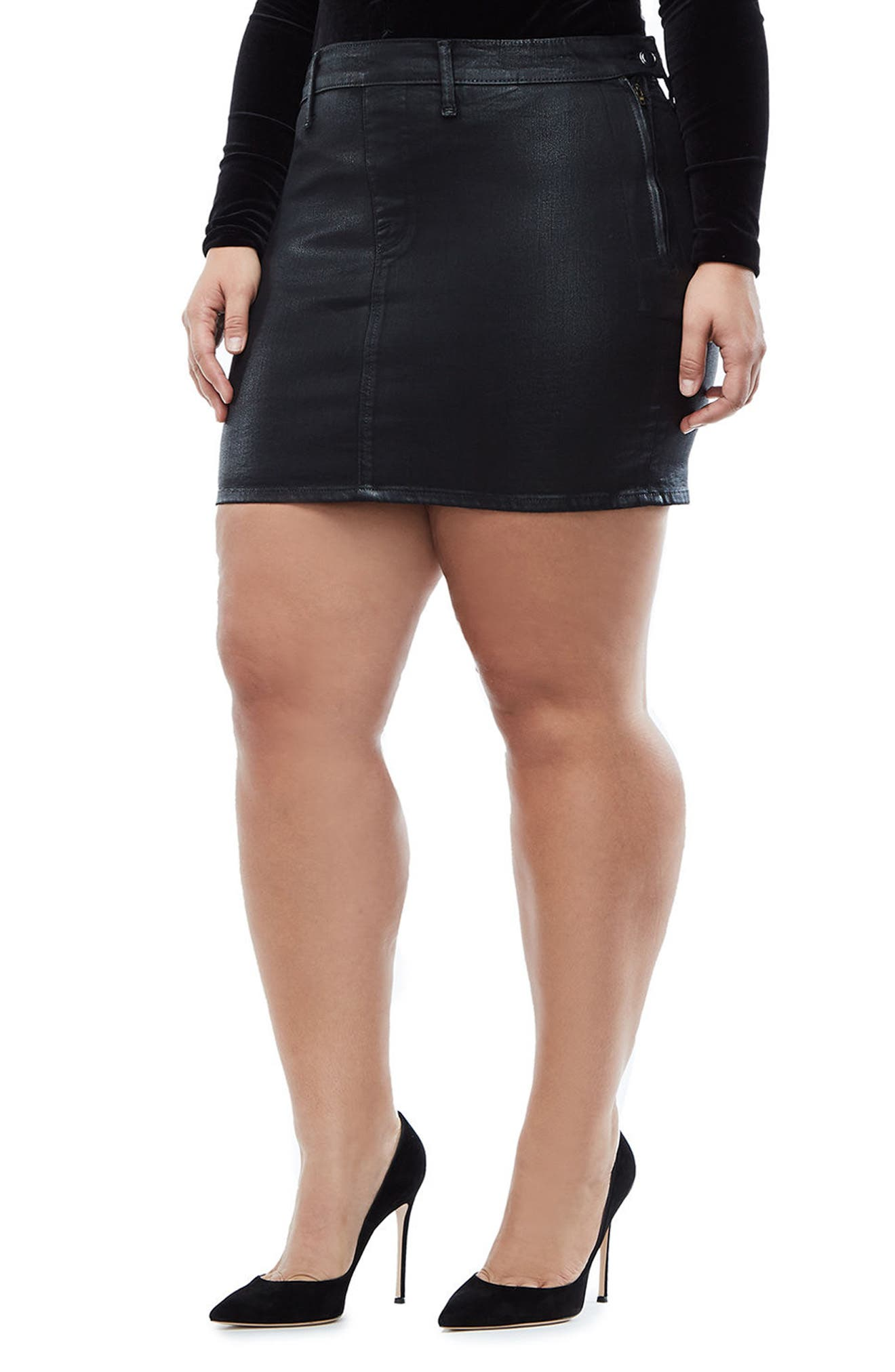 The Waxed Denim Miniskirt,                             Alternate thumbnail 8, color,                             BLACK