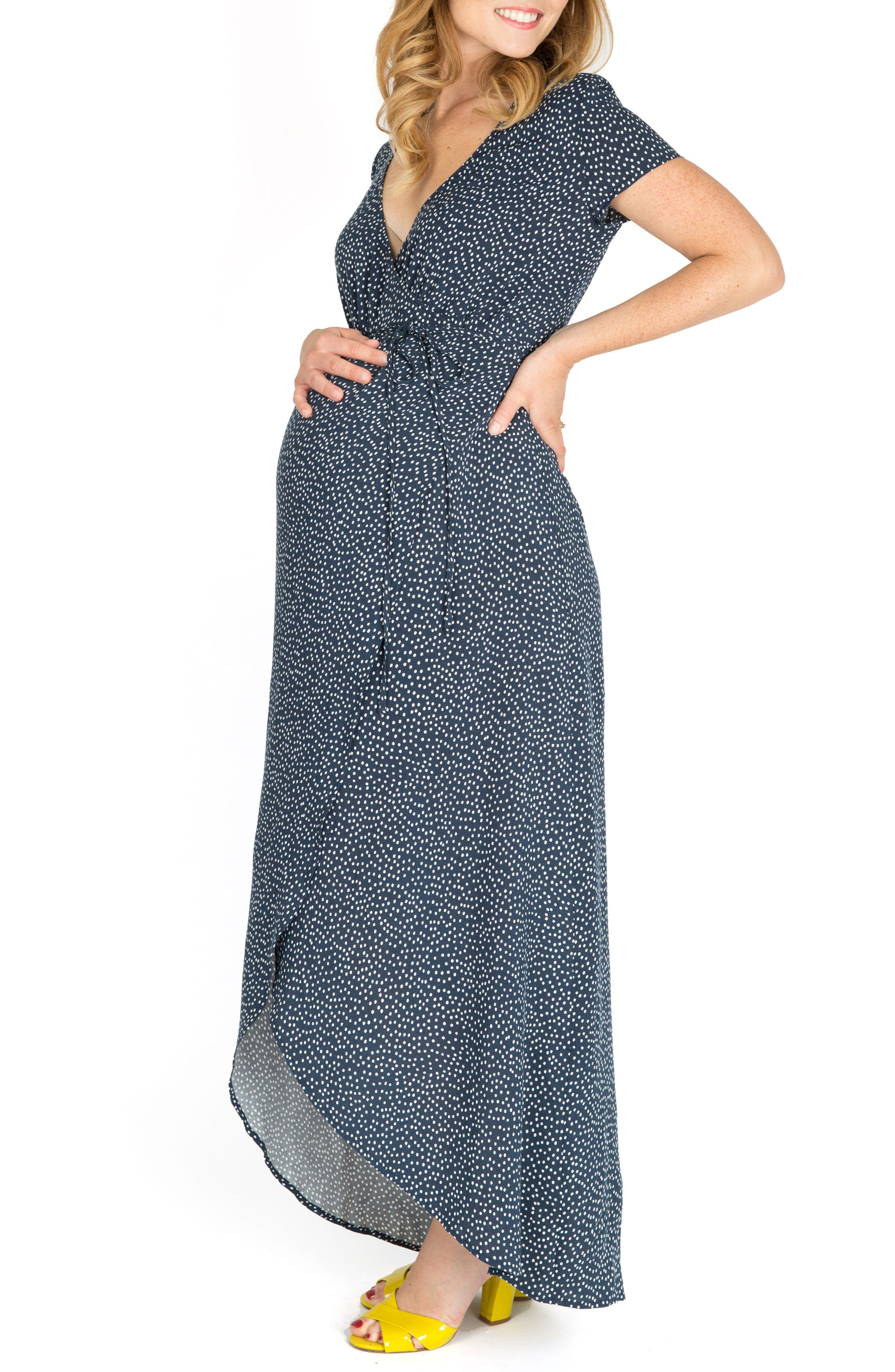 Delilah Maternity/Nursing Wrap Maxi Dress,                             Alternate thumbnail 3, color,                             NAVY DOT