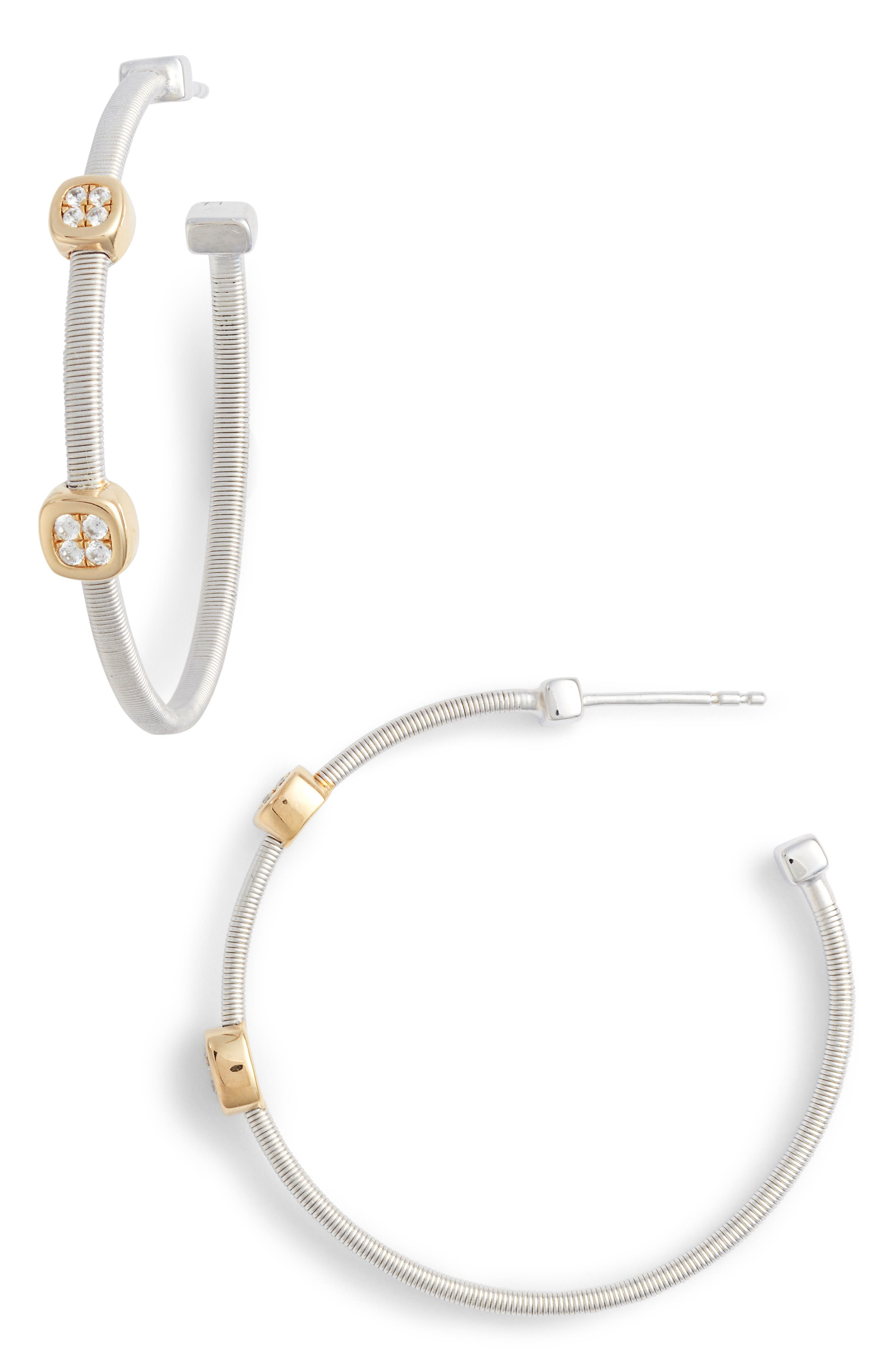 Milano Simulated Diamond Station Hoop Earrings,                         Main,                         color, TWO TONE/ CLEAR