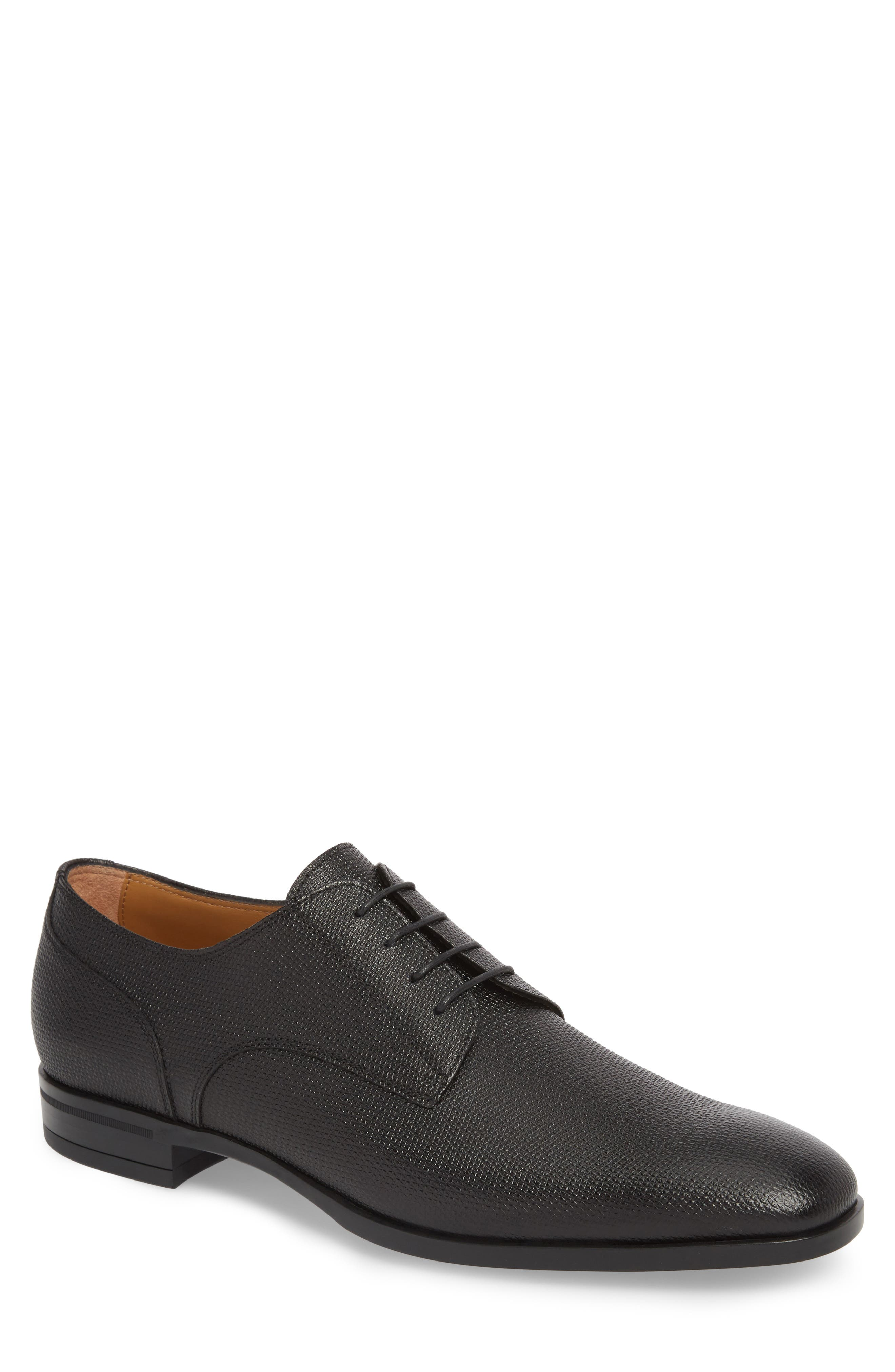 Hugo Boss Portland Embossed Plain Toe Derby,                             Main thumbnail 1, color,                             BLACK LEATHER