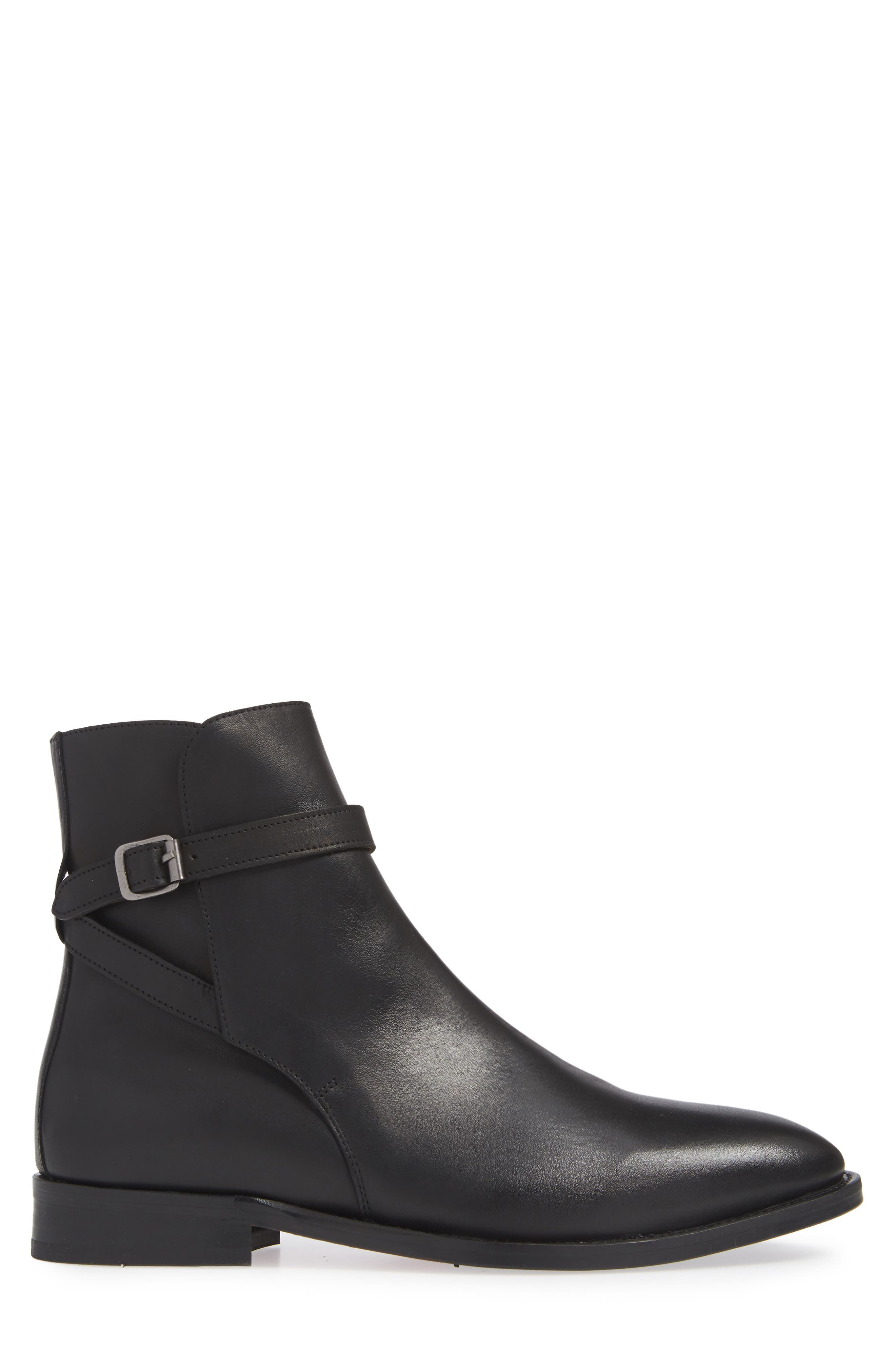 Hop Buckle Strap Boot,                             Alternate thumbnail 3, color,                             BLACK LEATHER