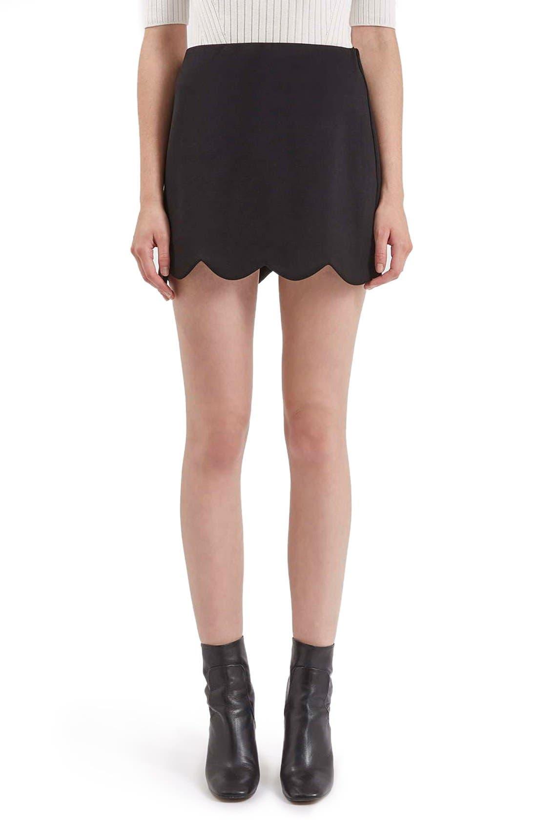 Scallop Hem Miniskirt,                             Main thumbnail 1, color,                             001