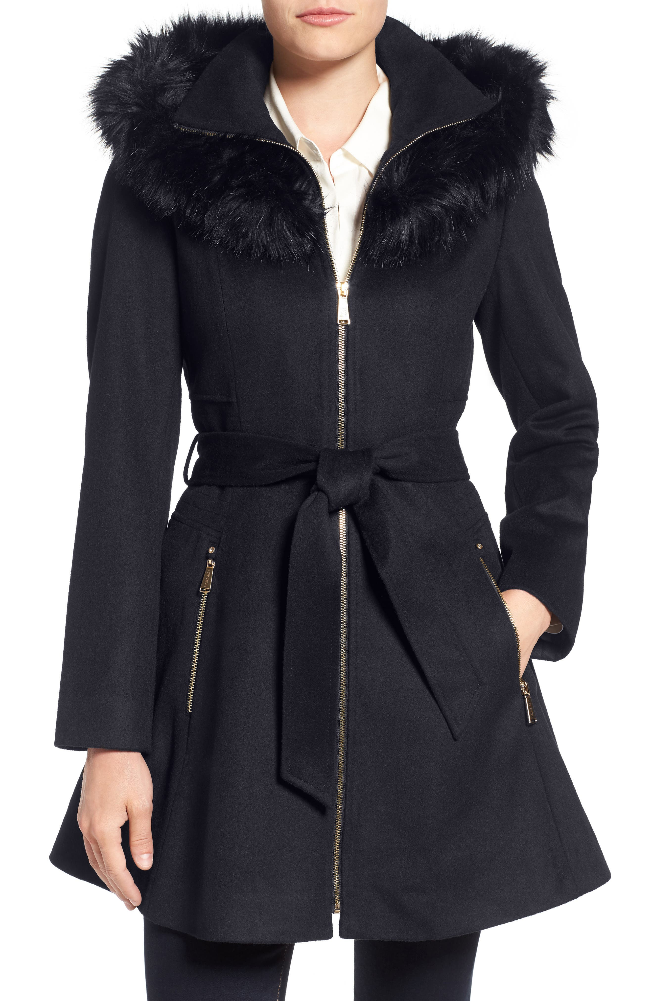 Belted Fit & Flare Coat with Faux Fur Trim,                             Main thumbnail 2, color,