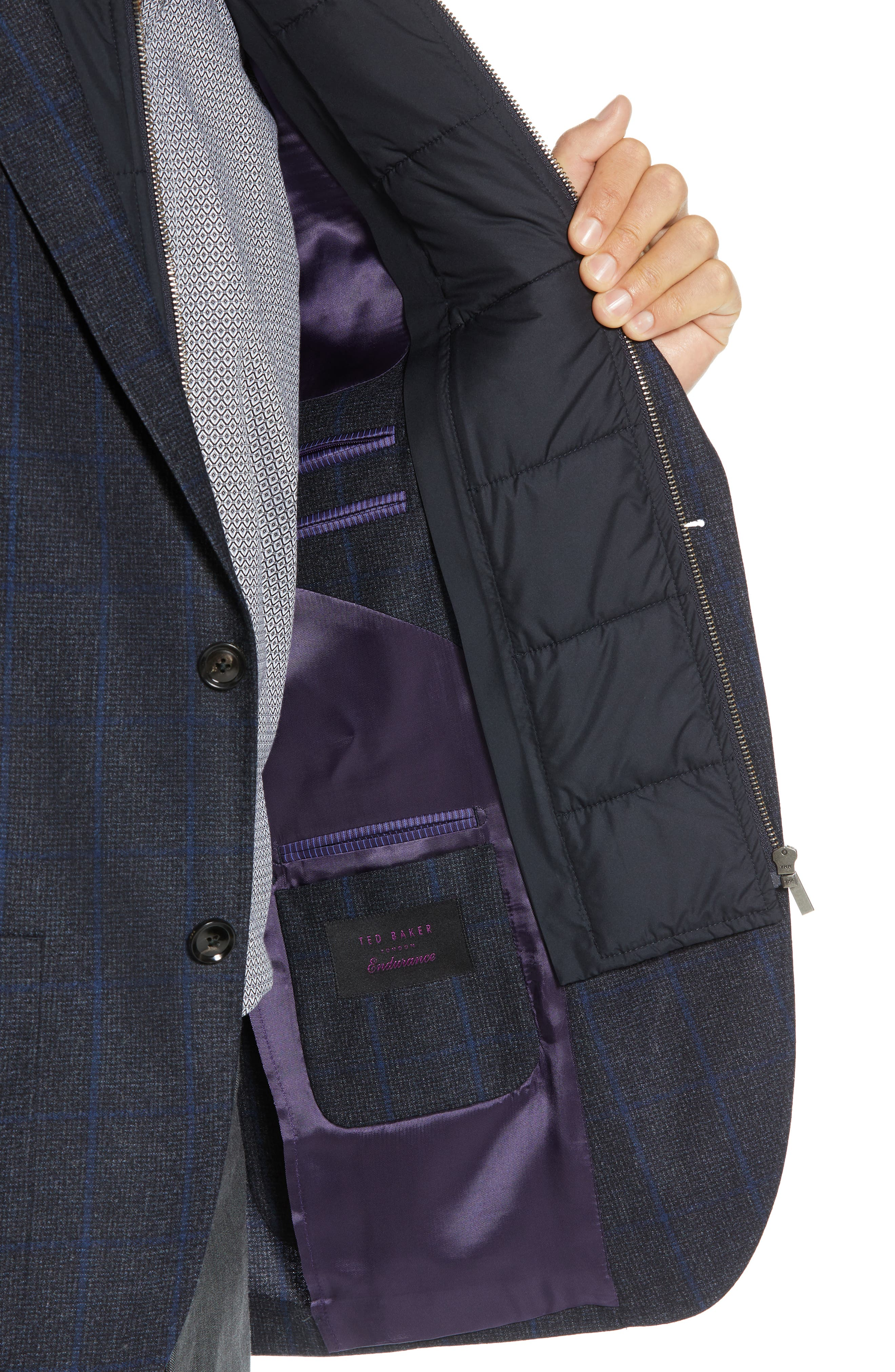 Tucker Trim Fit Windowpane Wool Sport Coat,                             Alternate thumbnail 4, color,                             BLUE