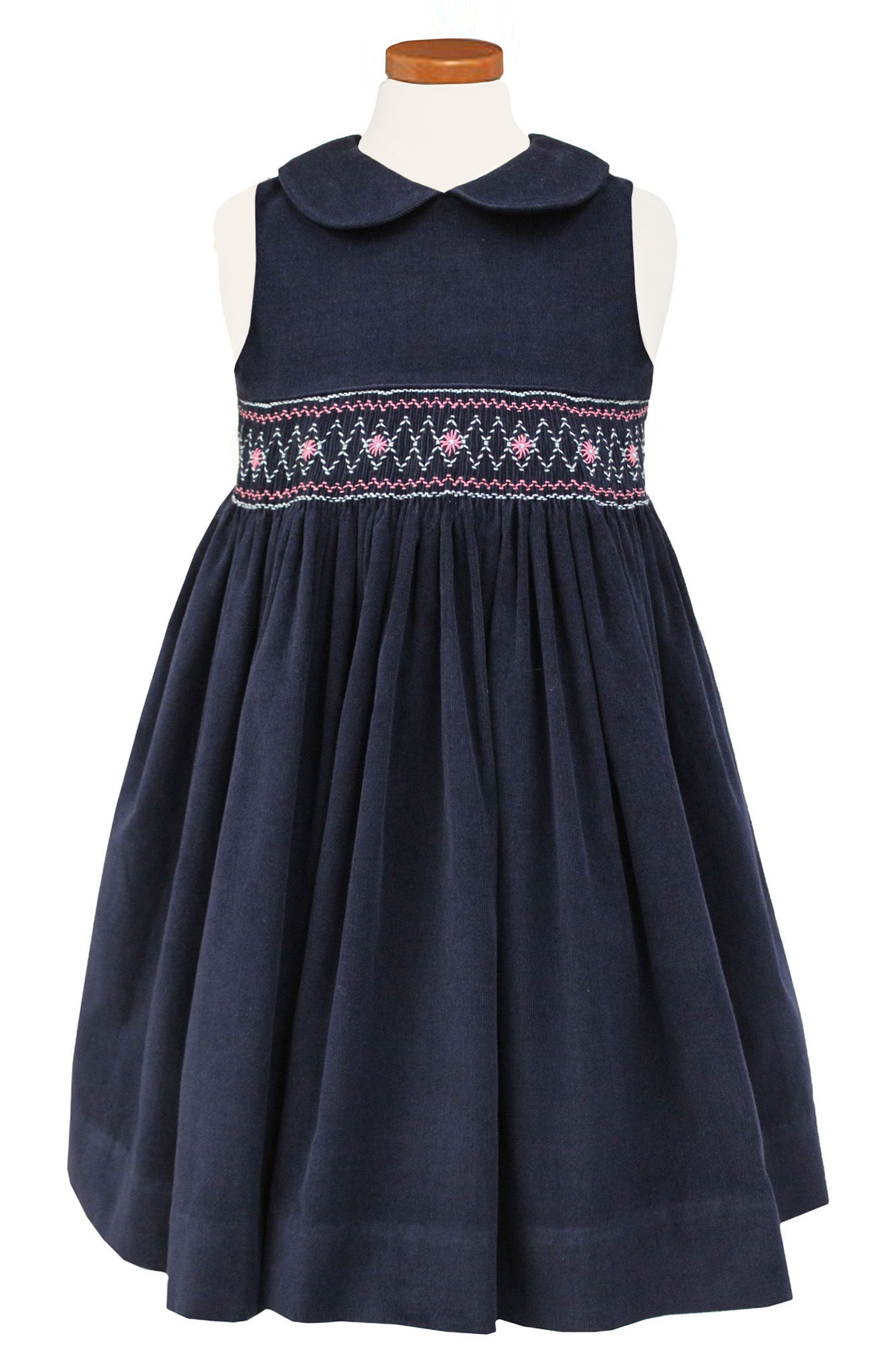 Embroidered Smocked Waist Dress,                             Alternate thumbnail 3, color,