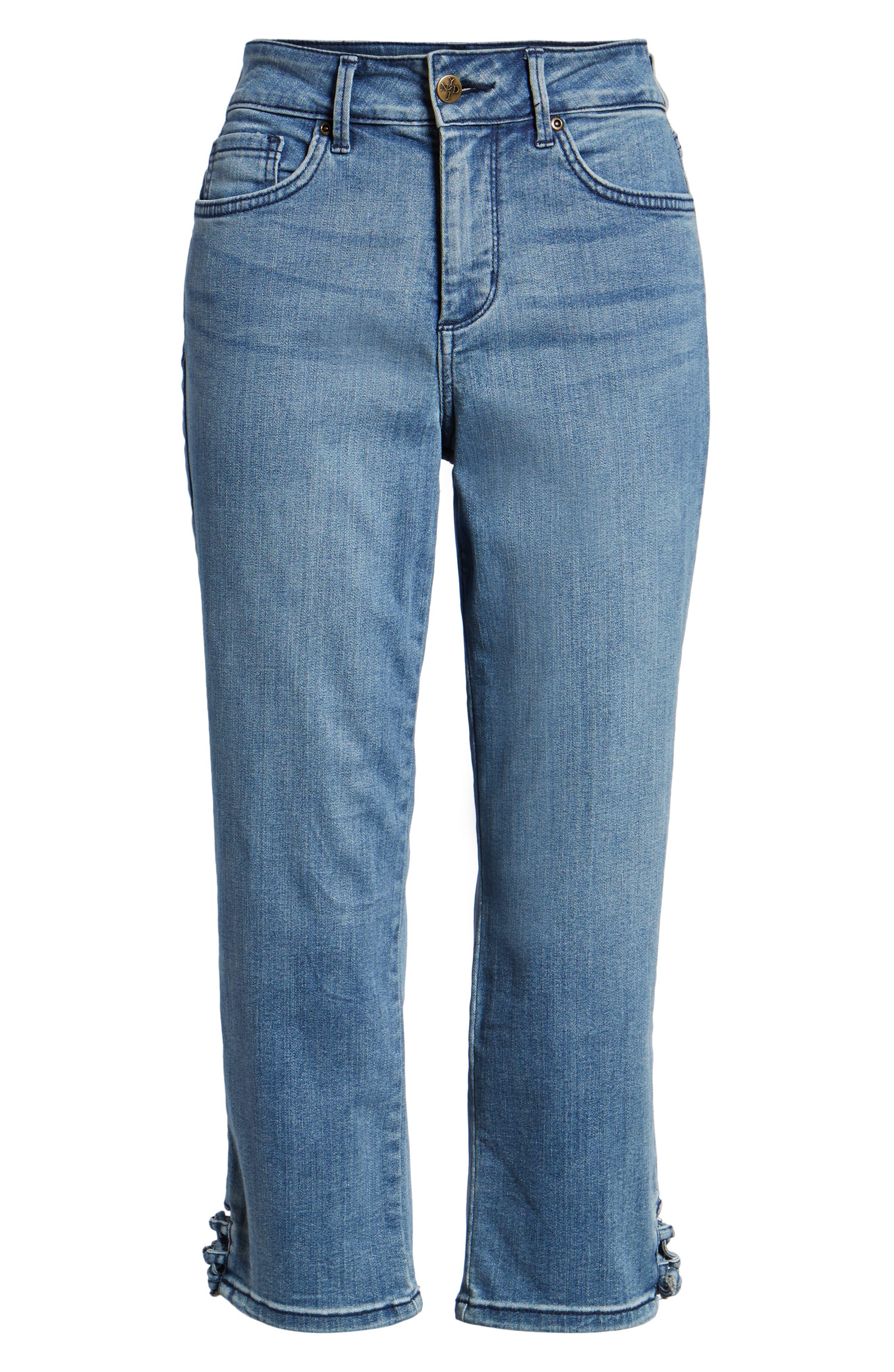 High Waist Lace Up Hem Capri Jeans,                             Alternate thumbnail 7, color,                             417