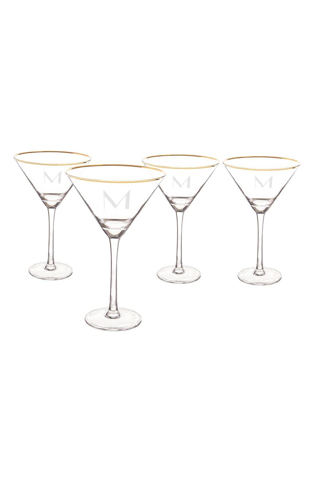 Set of 4 Gold Rimmed Monogram Martini Glasses,                             Alternate thumbnail 4, color,                             710