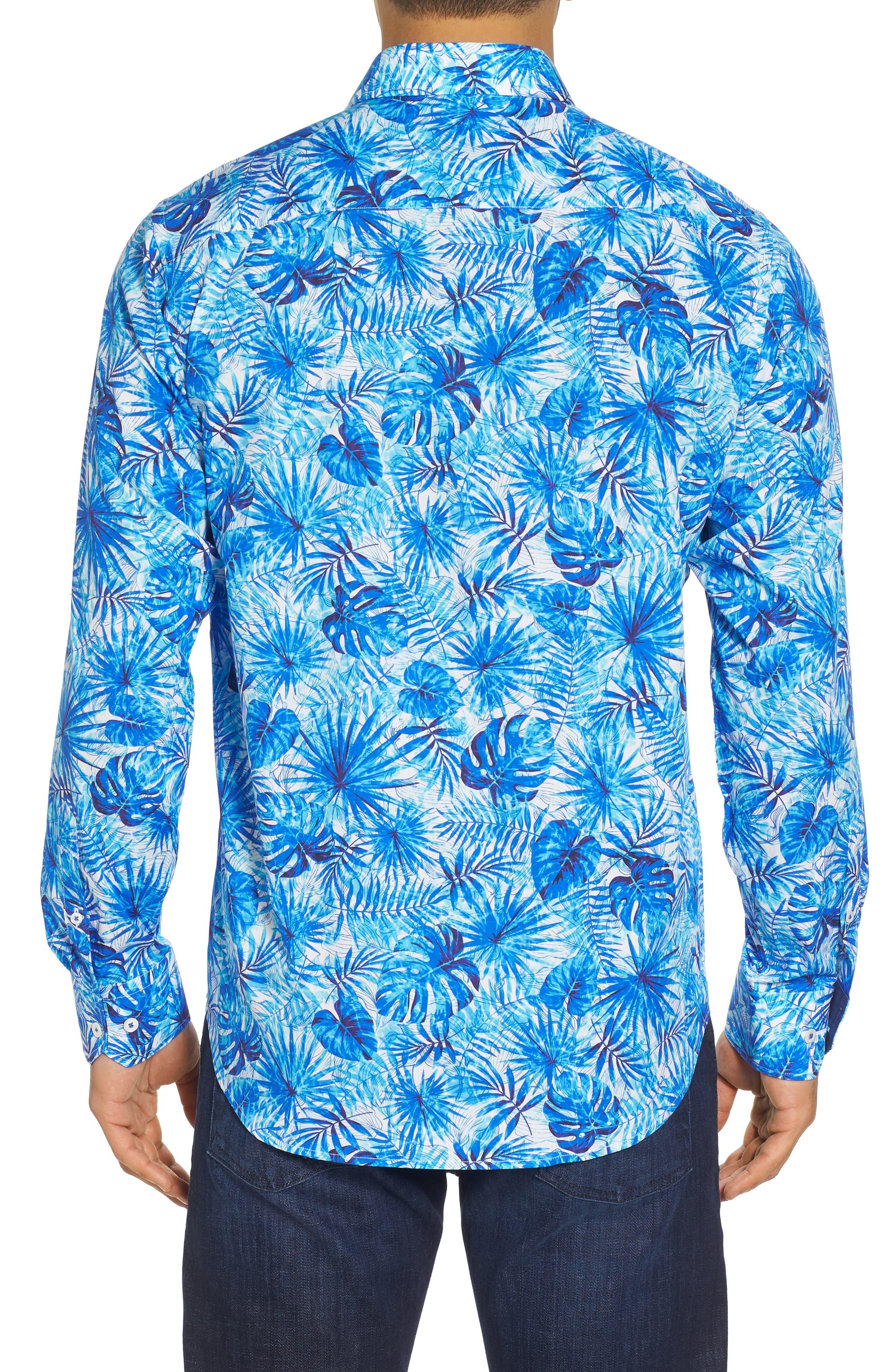 Tropical Leaves Classic Fit Print Sport Shirt,                             Alternate thumbnail 2, color,                             419