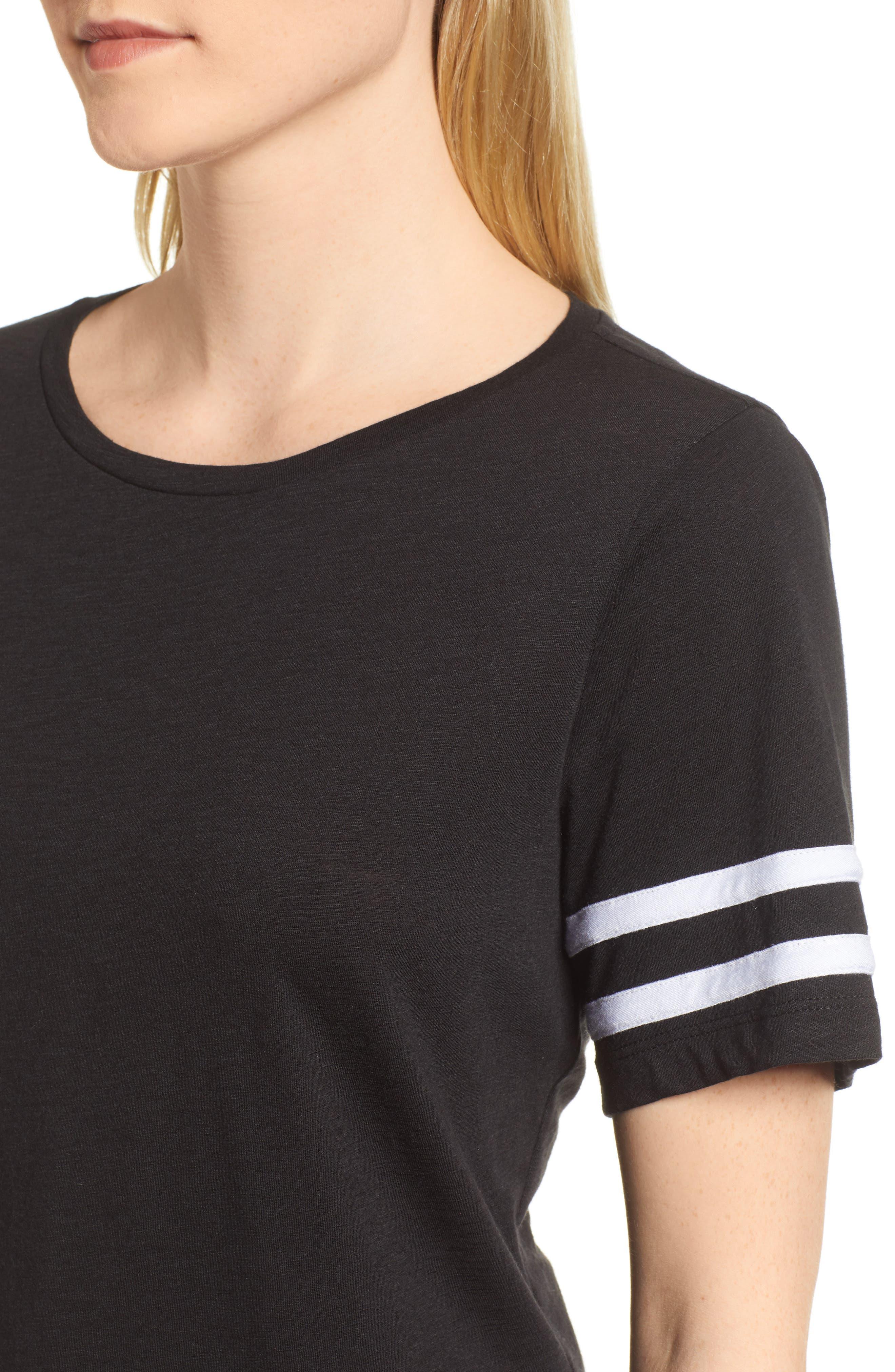 Stripe Sleeve Cotton Blend Athletic Tee,                             Alternate thumbnail 14, color,