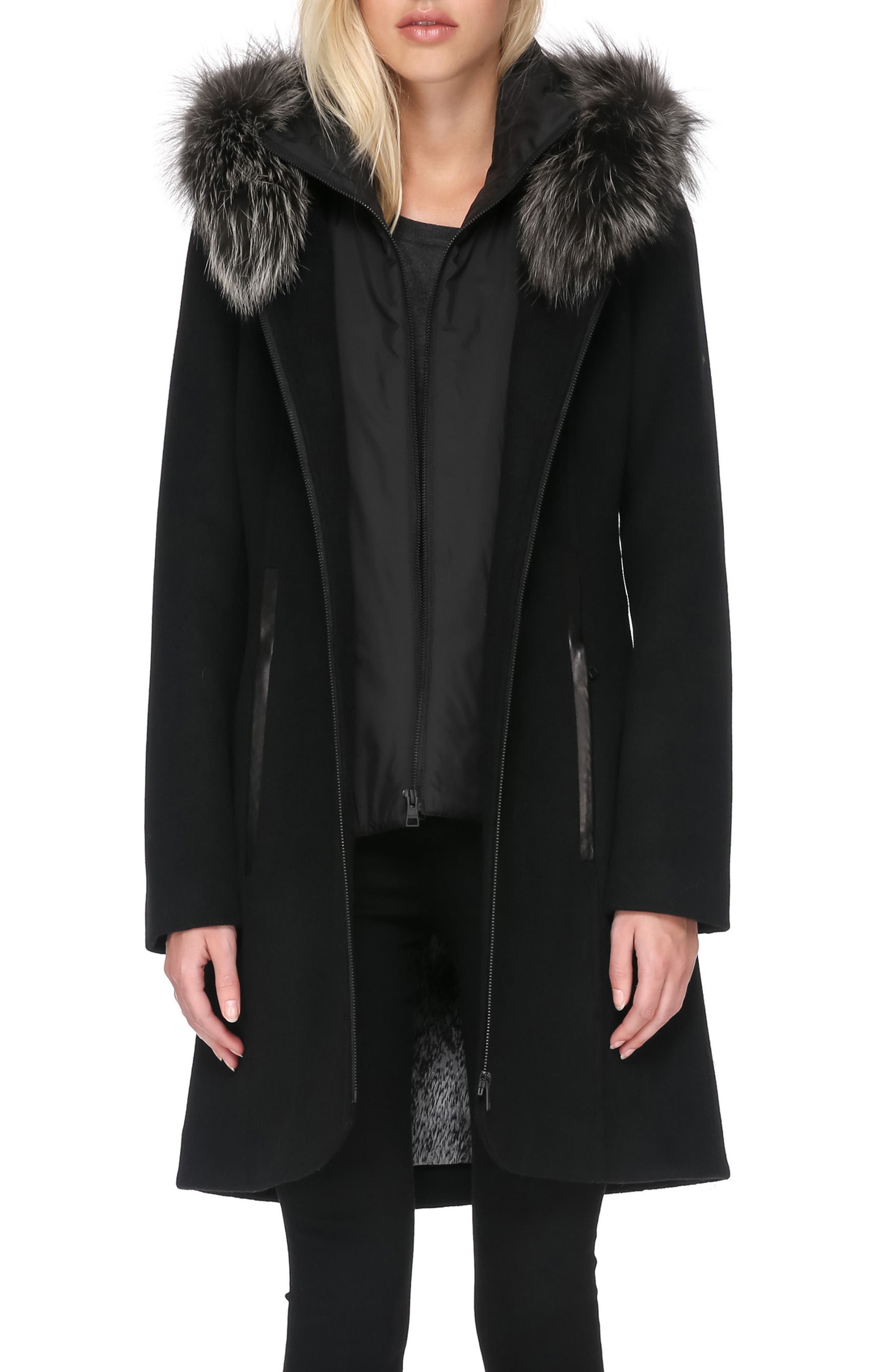 Hooded Wool Blend Coat with Detachable Genuine Fox Fur, Main, color, 001