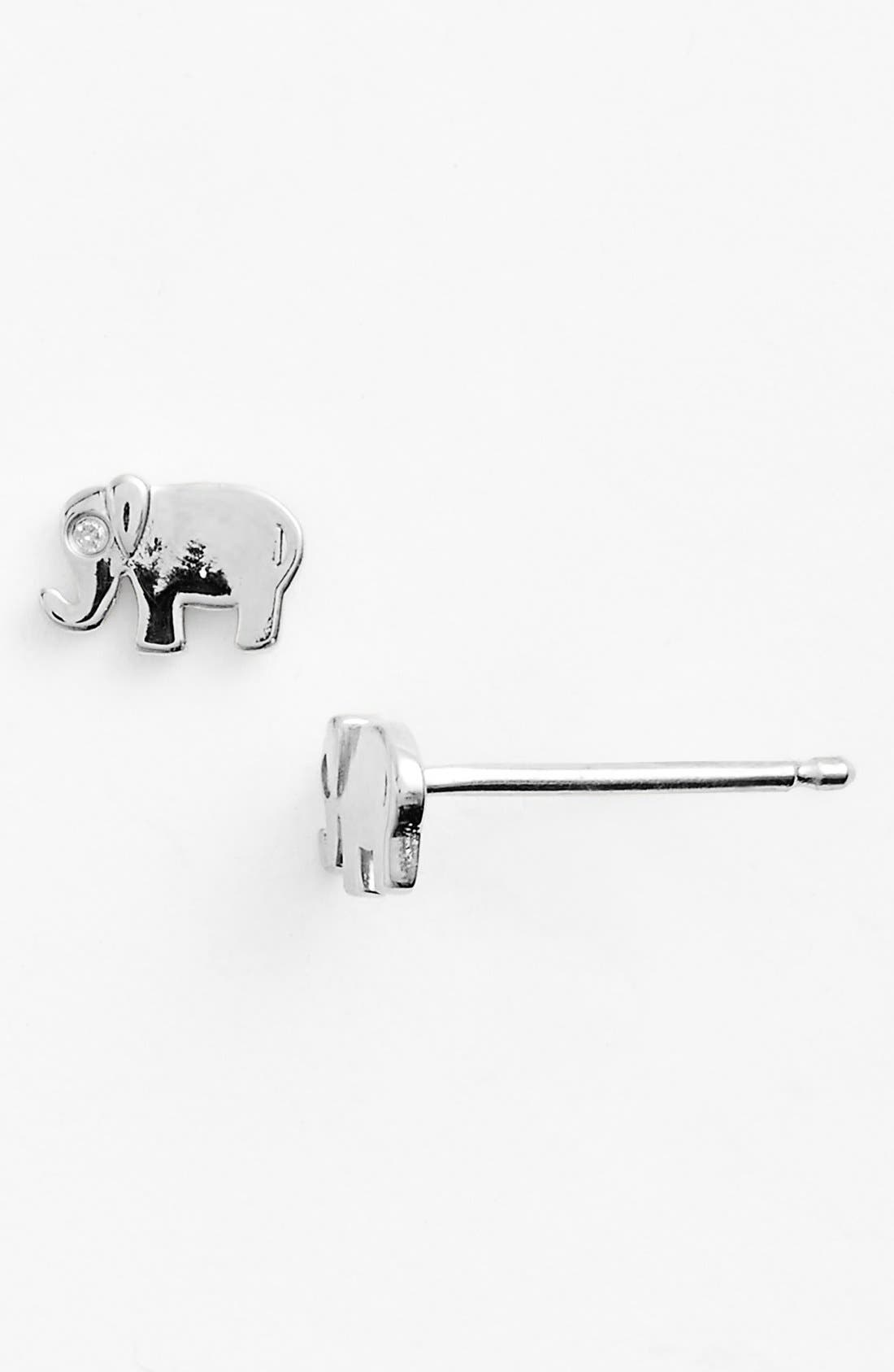 Elephant Earrings,                         Main,                         color, SILVER