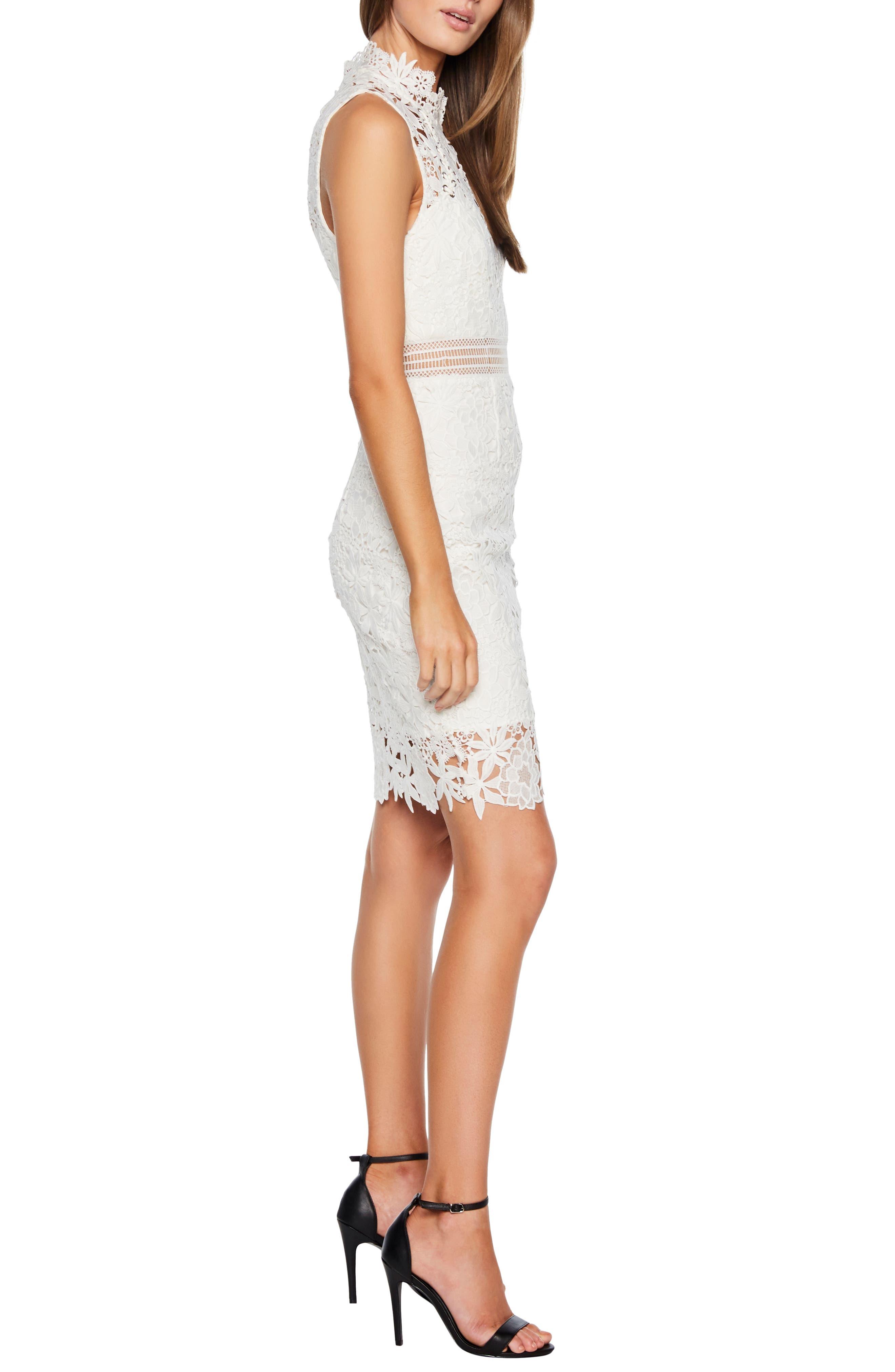 BARDOT,                             Paris Lace Body-Con Dress,                             Alternate thumbnail 3, color,                             IVORY