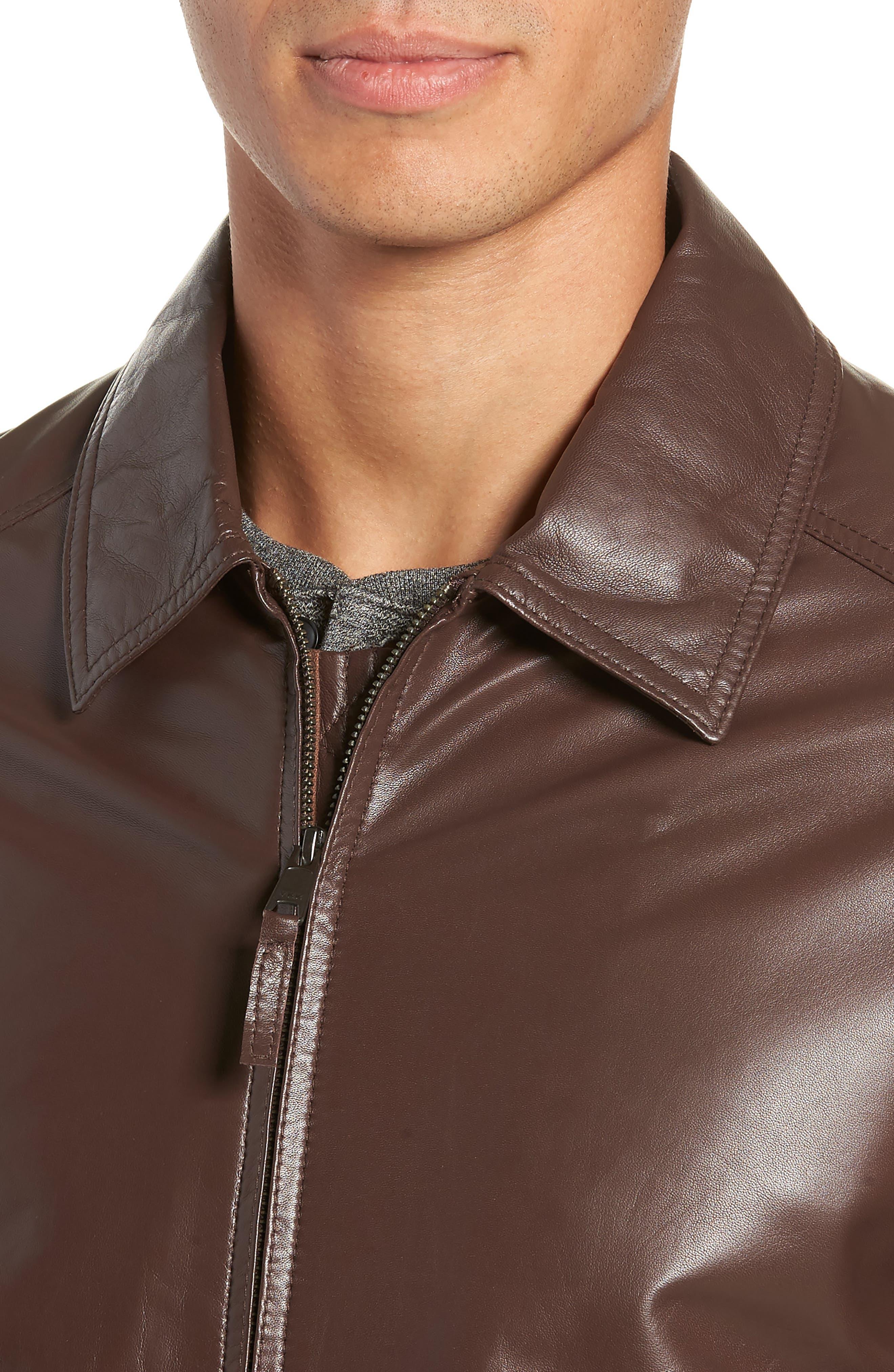 GOLDEN BEAR,                             The Bartlett Leather Jacket,                             Alternate thumbnail 4, color,                             DARK BROWN