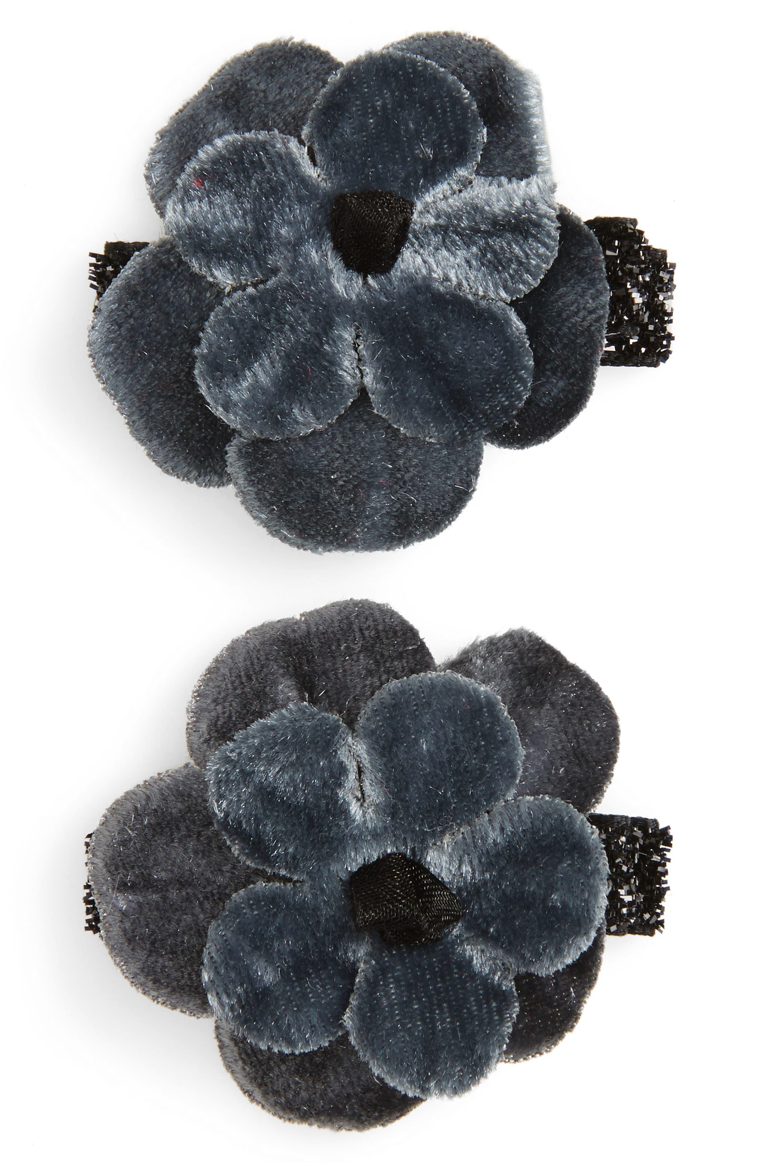 2-Pack Velvet Flower Clips,                         Main,                         color, 020