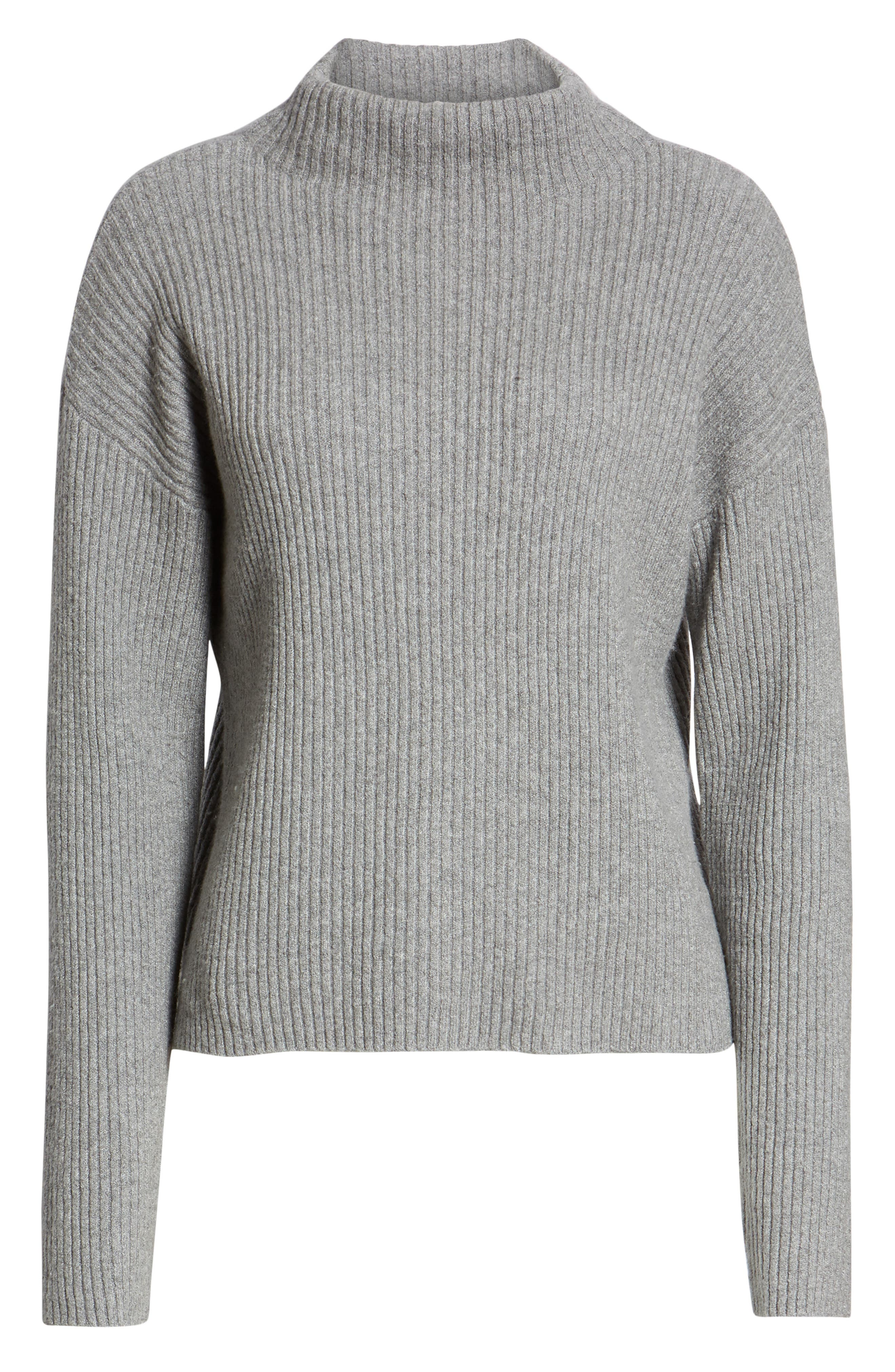 Ribbed Funnel Neck Sweater,                             Alternate thumbnail 6, color,                             030