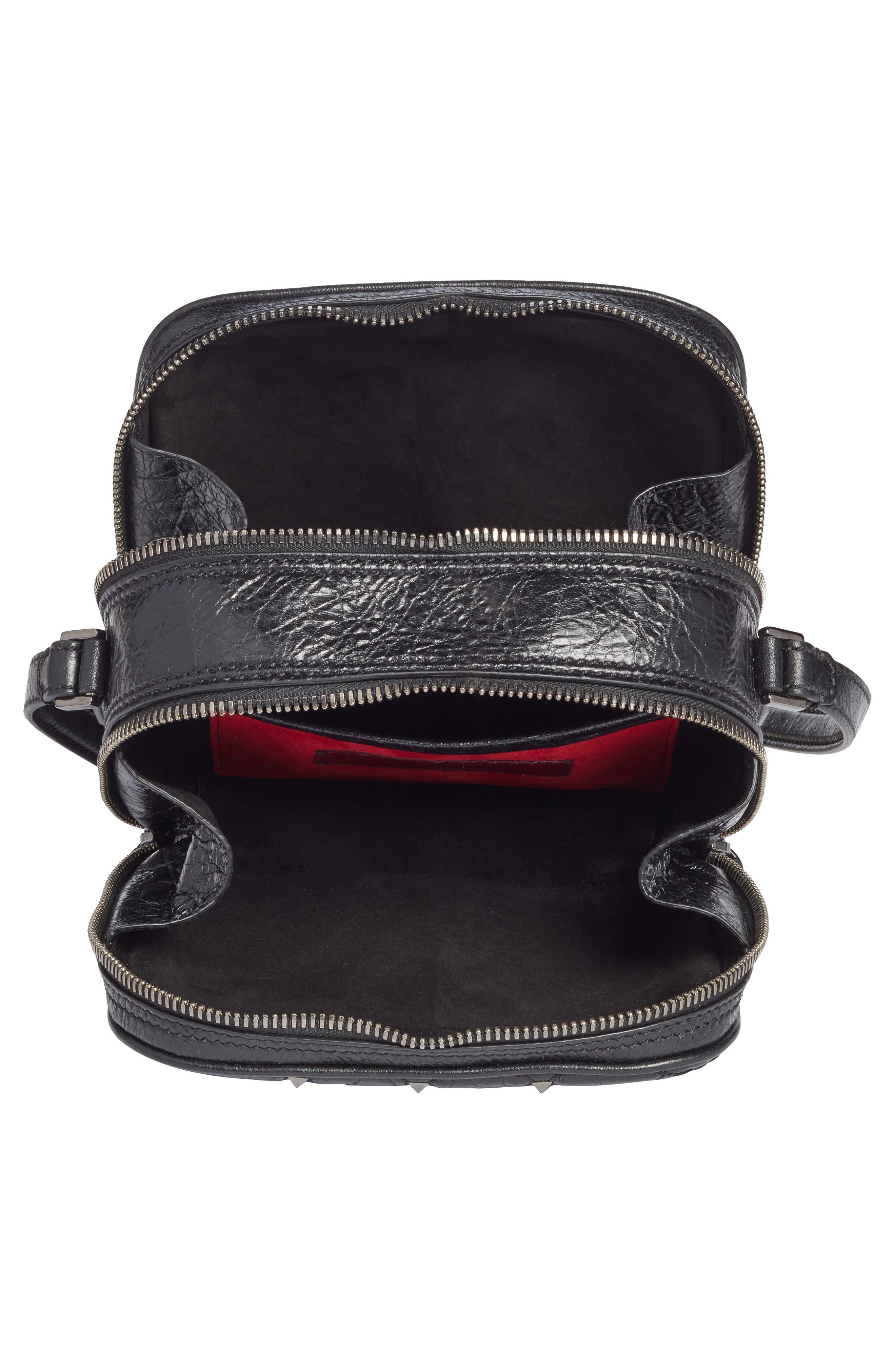 Rockstud Leather Camera Crossbody Bag,                             Alternate thumbnail 4, color,                             001