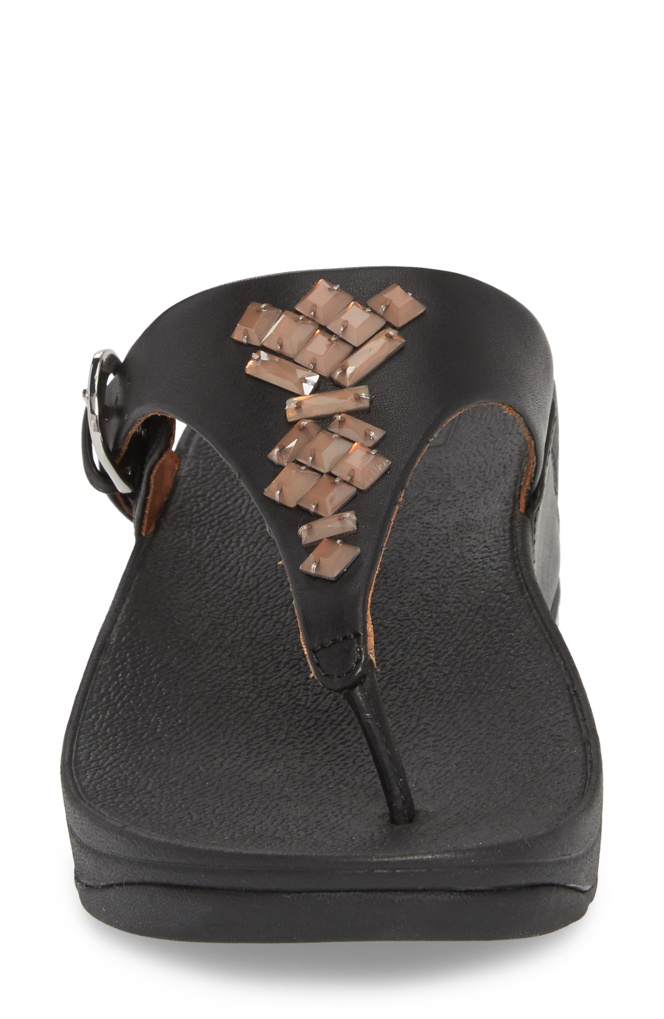 The Skinny Embellished V-Strap Thong Sandal,                             Alternate thumbnail 4, color,                             001