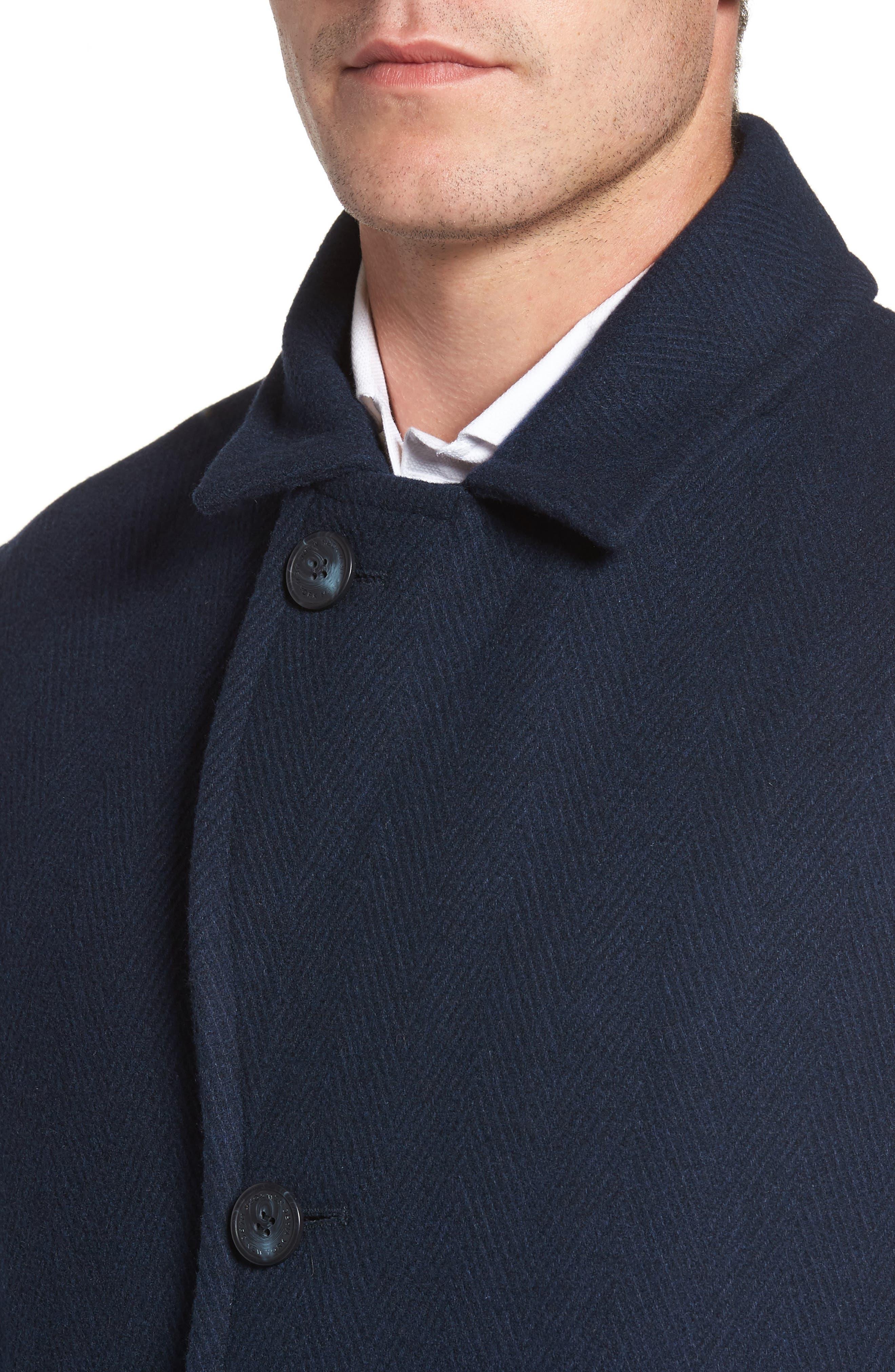 Herringbone Wool Blend Car Coat,                             Alternate thumbnail 8, color,