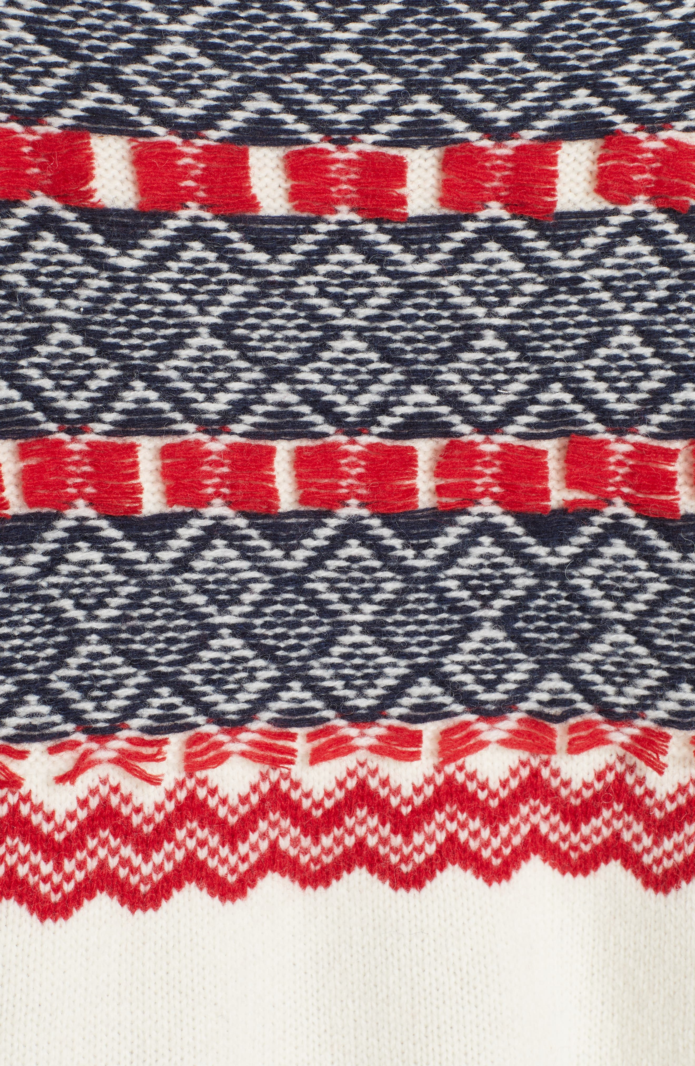 Fair Isle Mix Media Wool Blend Sweater,                             Alternate thumbnail 5, color,                             NAVY/ RED