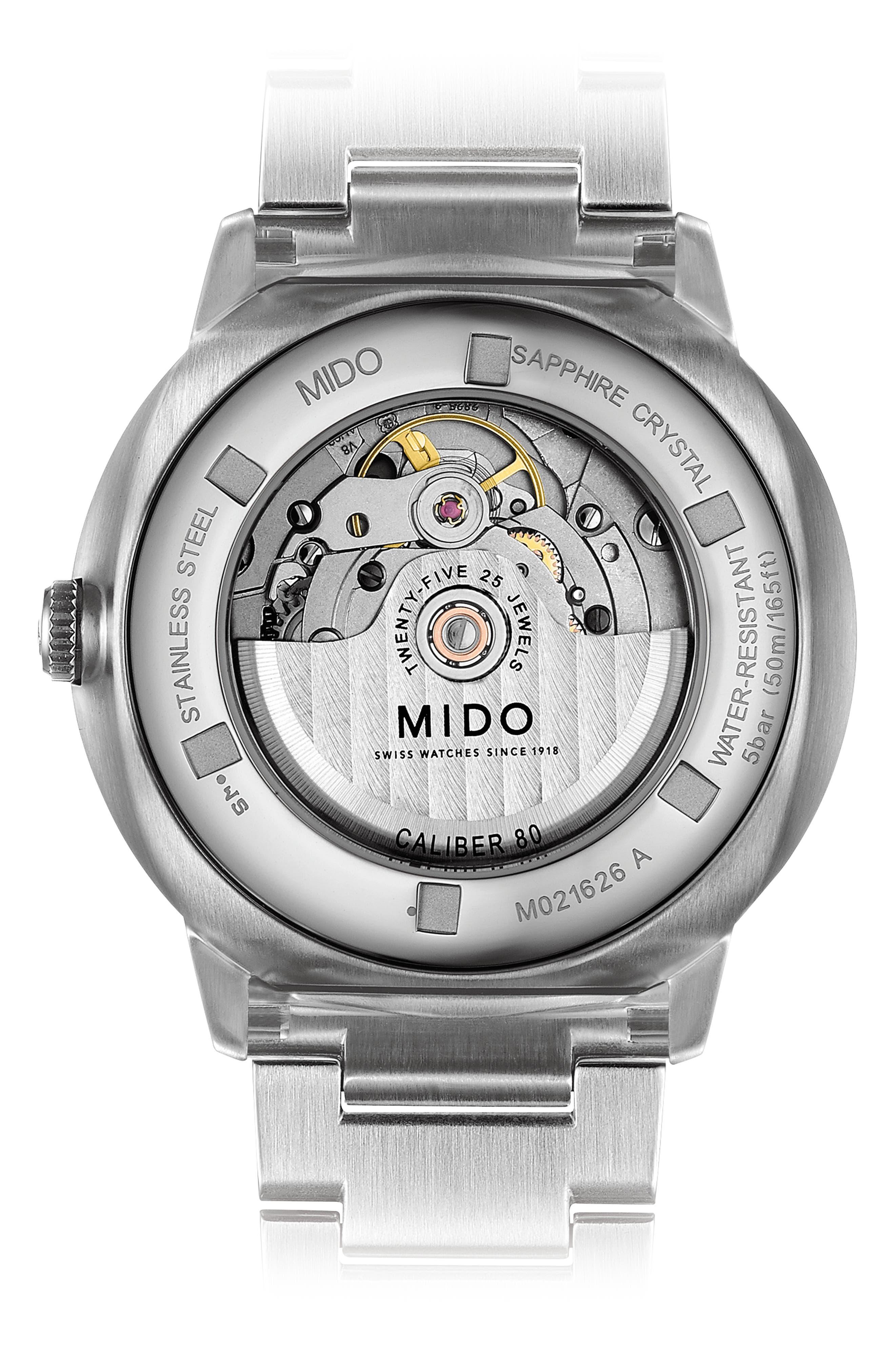 Commander II Skeleton Bracelet Watch, 42mm,                             Alternate thumbnail 2, color,                             SILVER/ BLACK/ SILVER