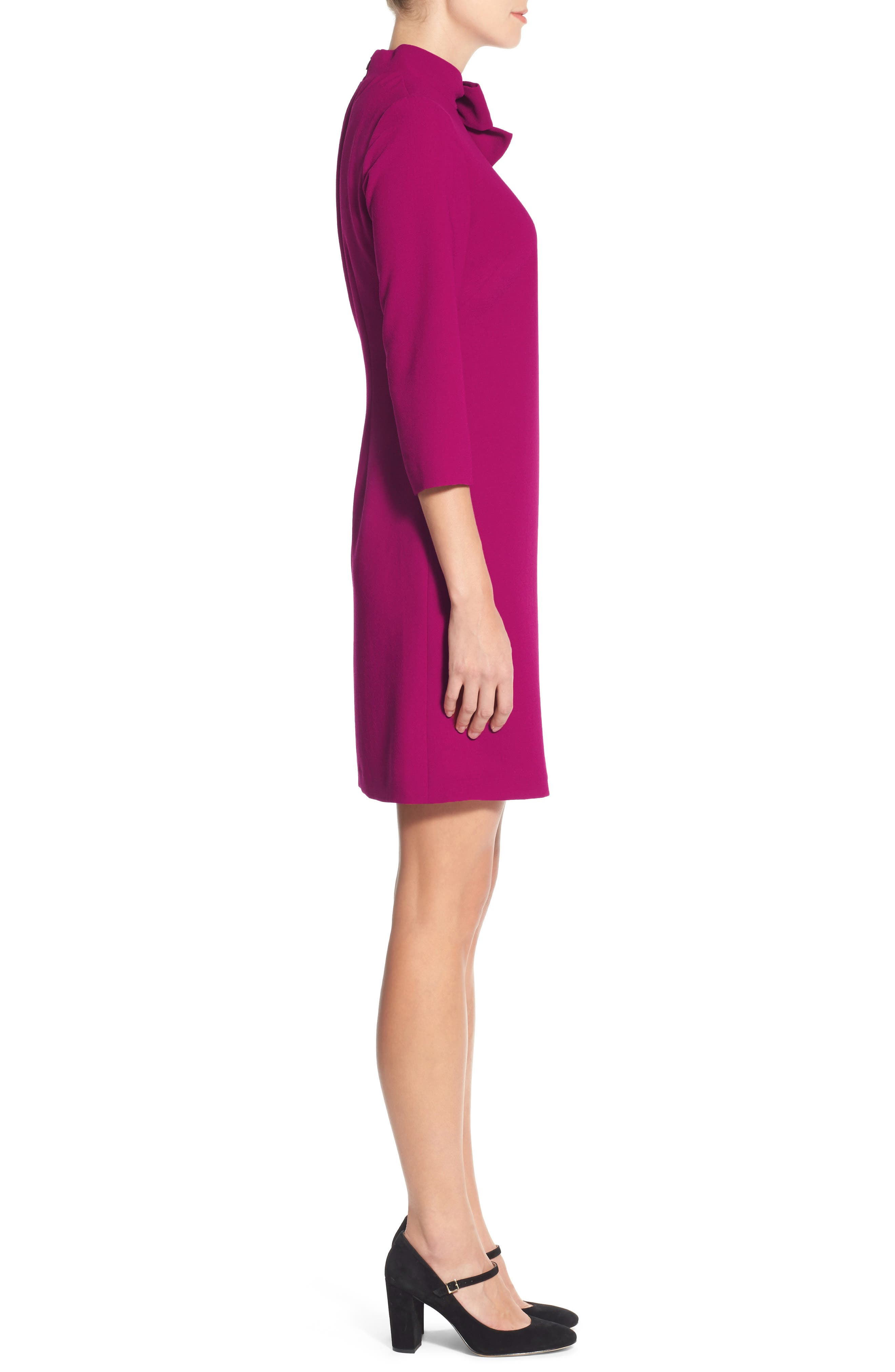 Bow Crepe A-Line Dress,                             Alternate thumbnail 3, color,                             PINK