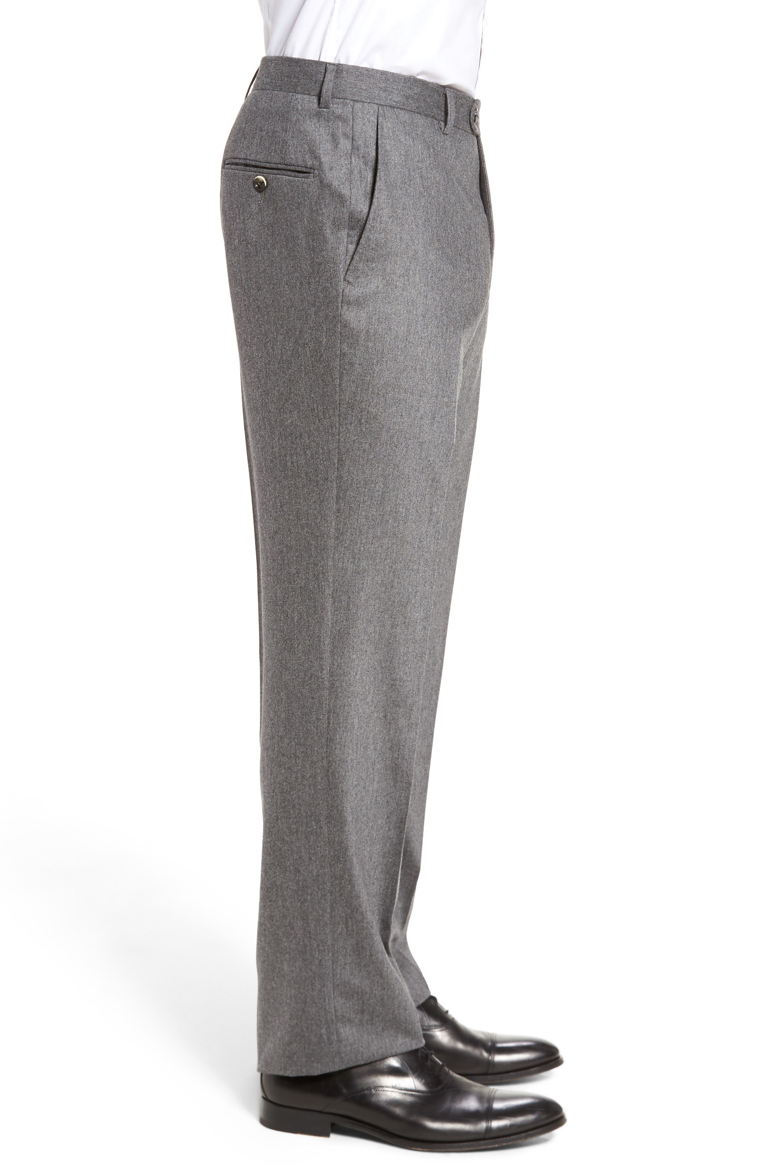 Classic B Fit Flat Front Solid Wool Blend Trousers,                             Alternate thumbnail 4, color,                             030