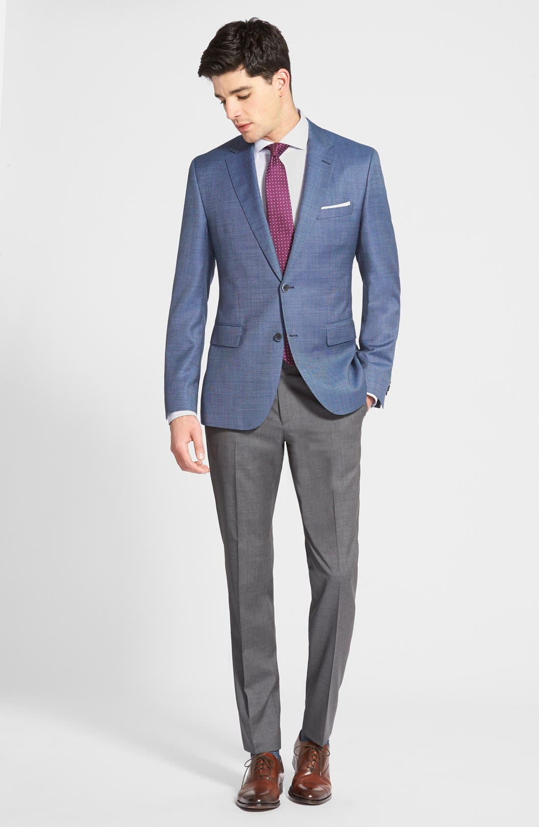ZZDNUHUGO BOSS,                             BOSS 'Sharp' Slim Fit Flat Front Wool Trousers,                             Alternate thumbnail 4, color,                             060