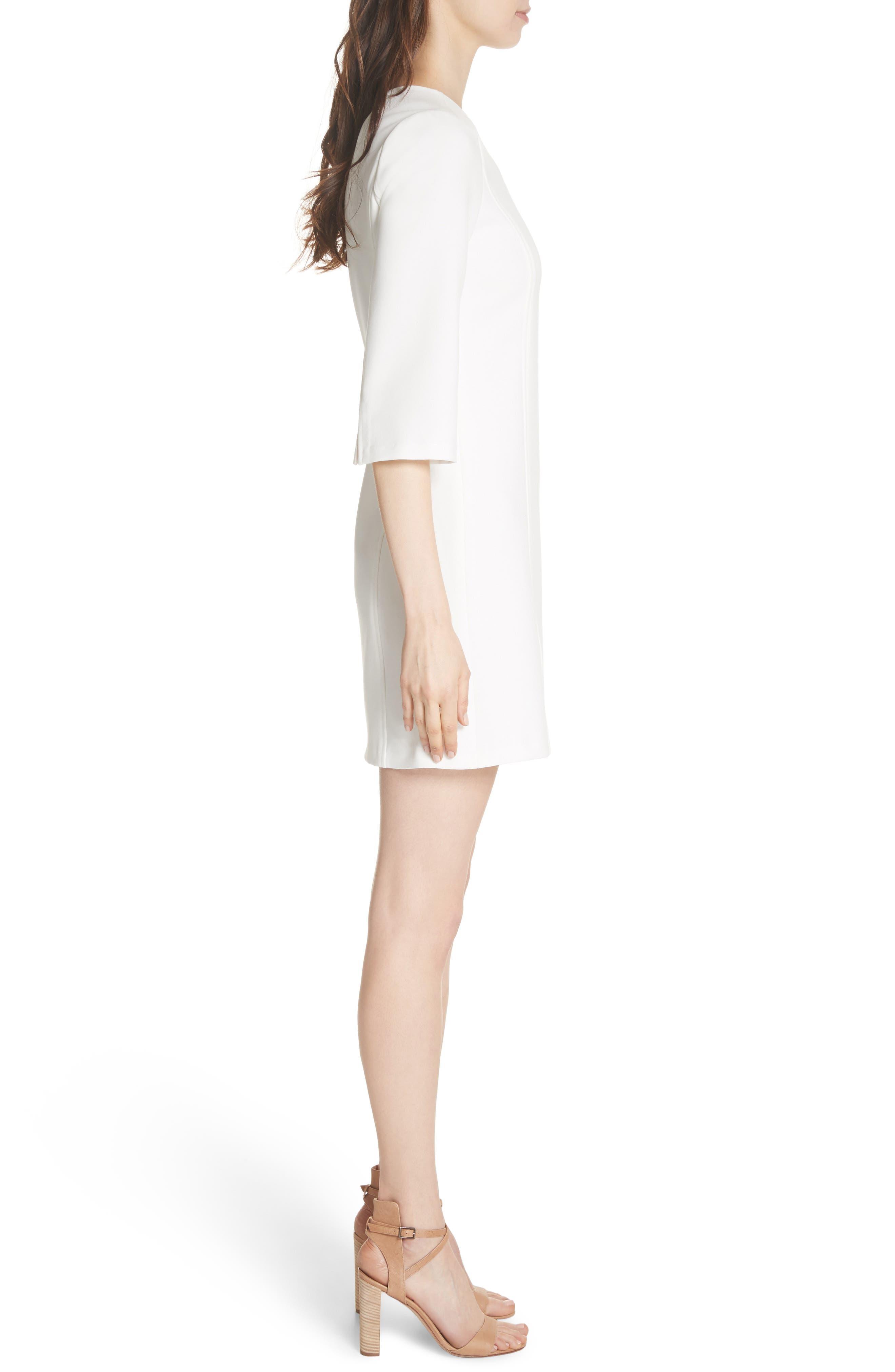 Gem Shift Dress,                             Alternate thumbnail 3, color,                             OFF WHITE