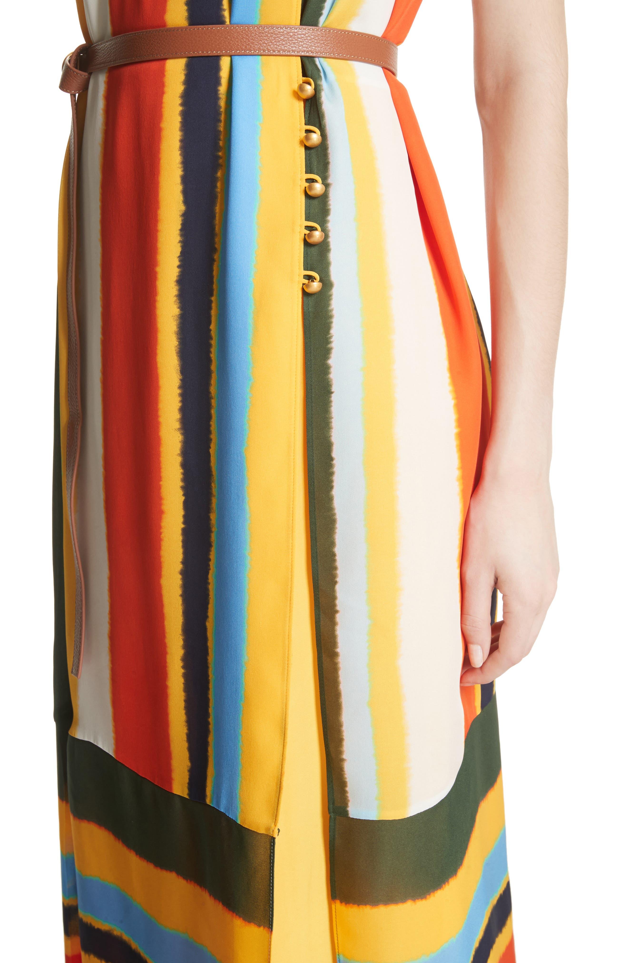 Bettina Stripe Silk Wrap Dress,                             Alternate thumbnail 4, color,                             108