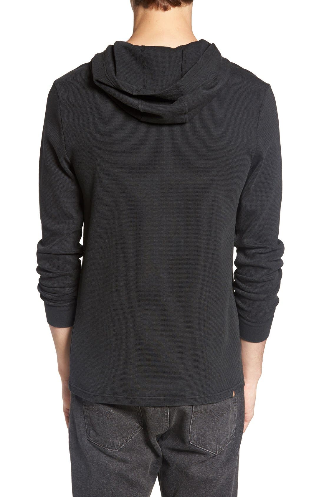 'Waiters' Waffle Knit Thermal Hoodie,                             Alternate thumbnail 5, color,                             001