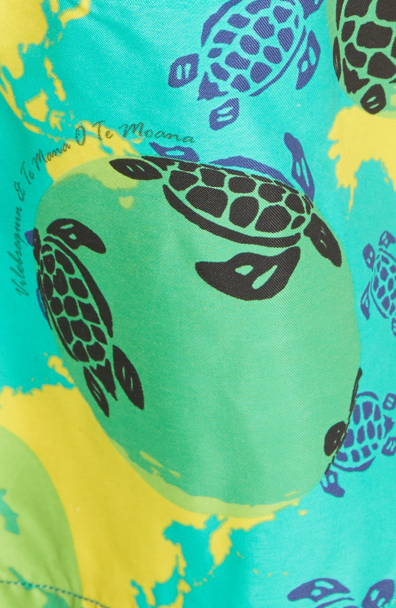 Eco Turtle Print Swim Trunks,                             Alternate thumbnail 5, color,                             VERONESE GREEN