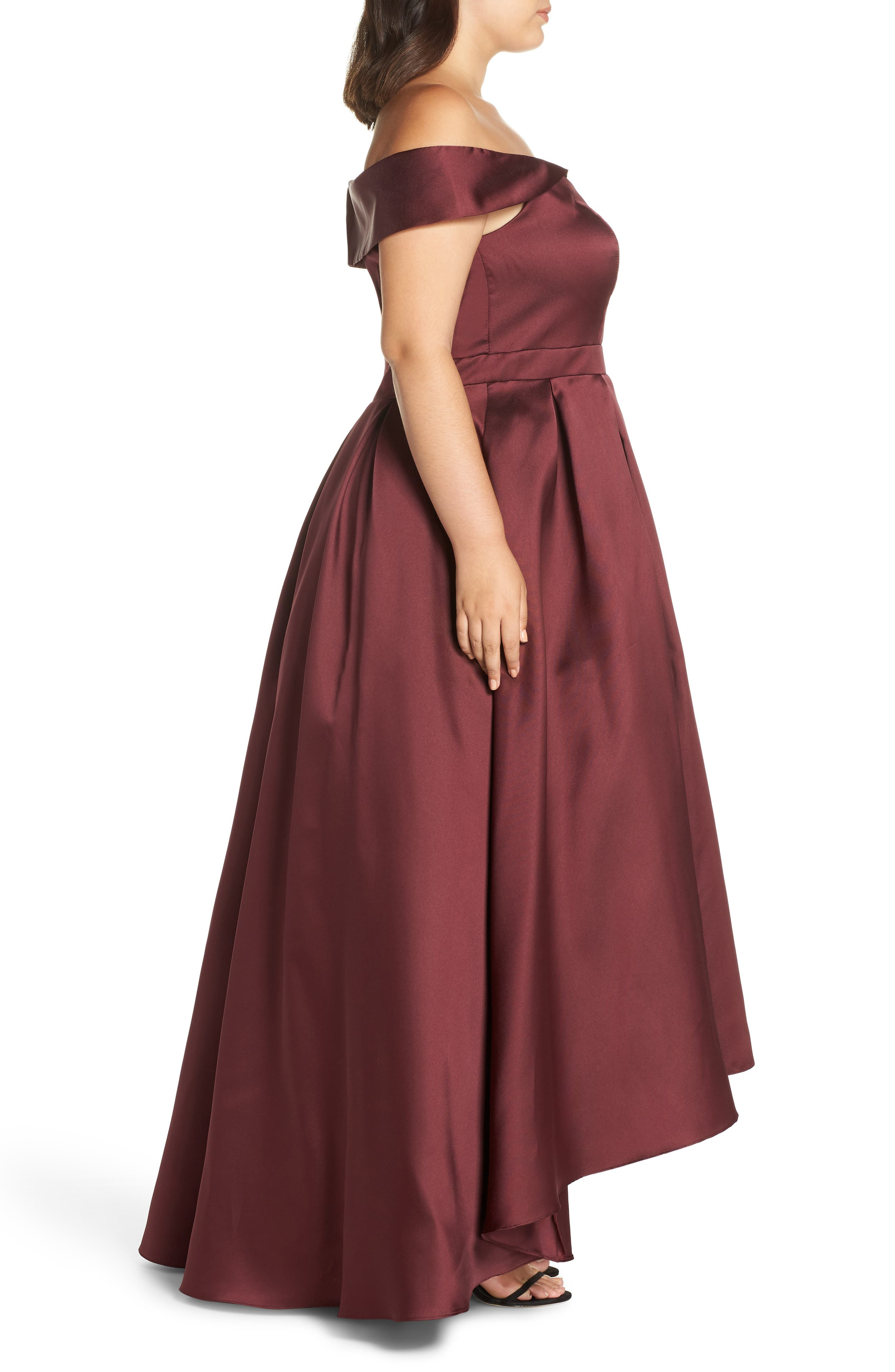 Off the Shoulder Mikado High/Low Gown,                             Alternate thumbnail 3, color,                             600