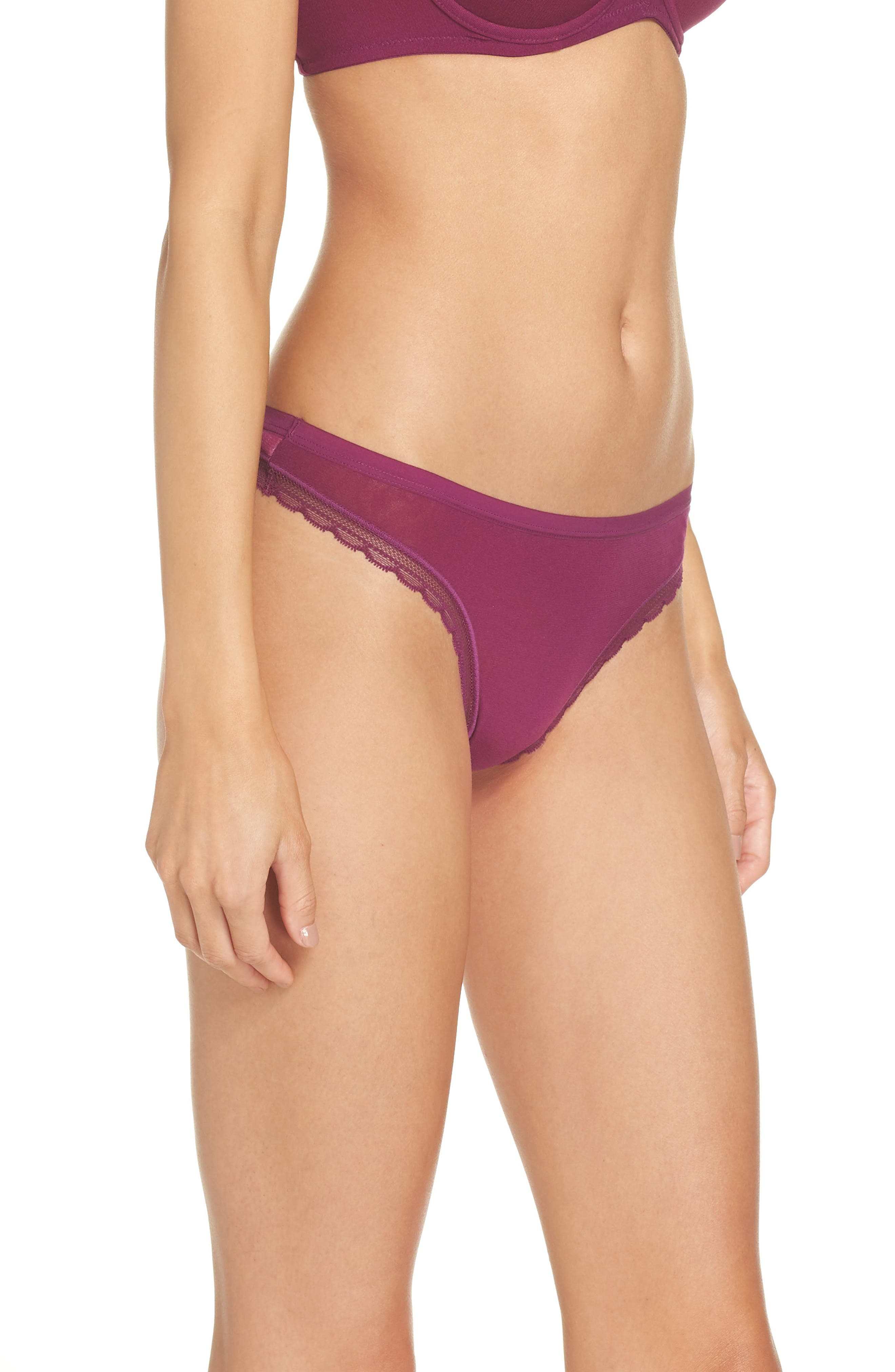 Hip G Thong,                             Alternate thumbnail 3, color,                             PLUM WINE